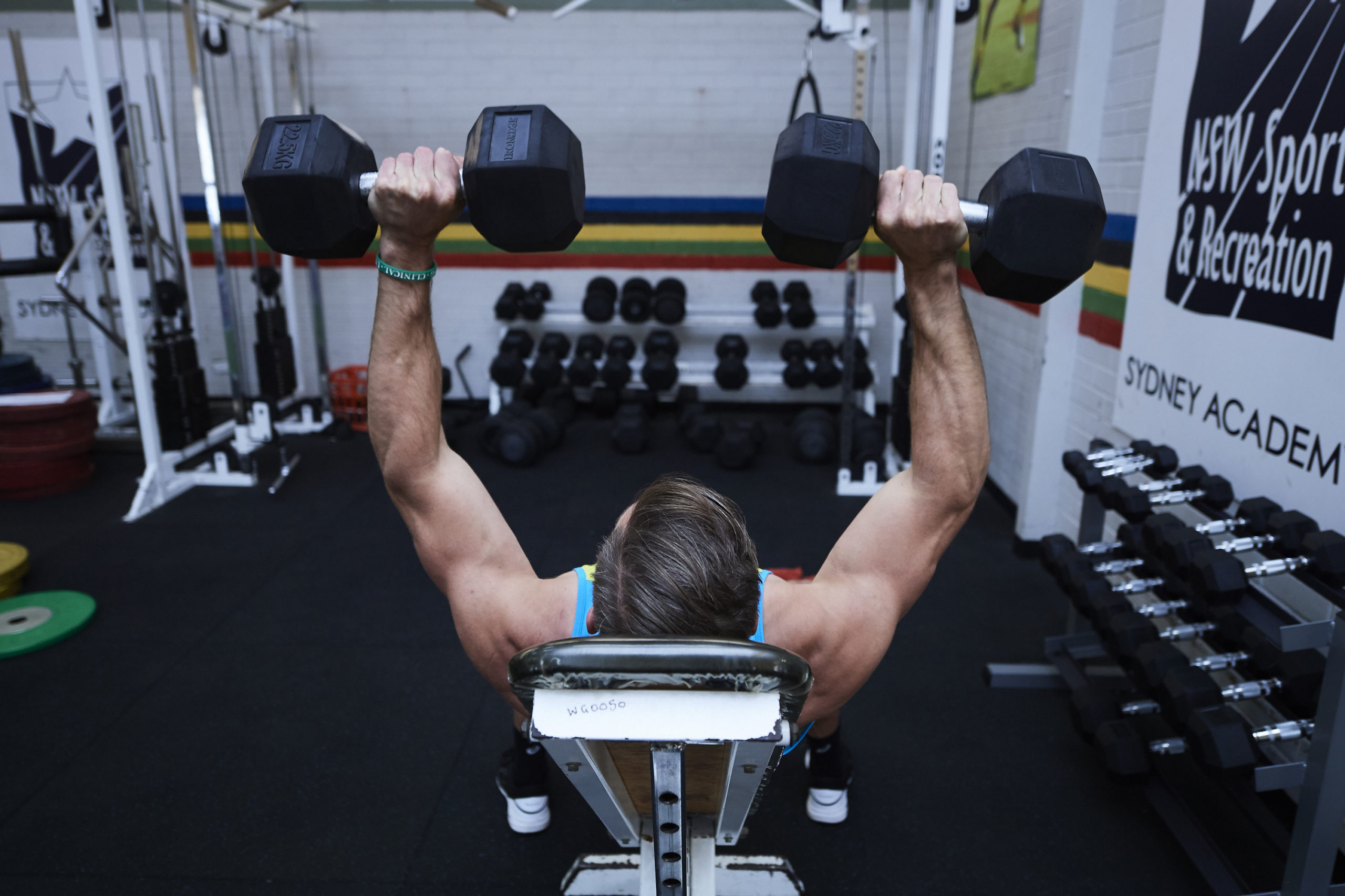 SYDNEY, AUSTRALIA - SEPTEMBER 20: Ed Jenkins of the Australian Rugby Sevens team works out in the gym during a training session on September 20, 2017 in Sydney, Australia. (Photo by Brett Hemmings/Getty Images)