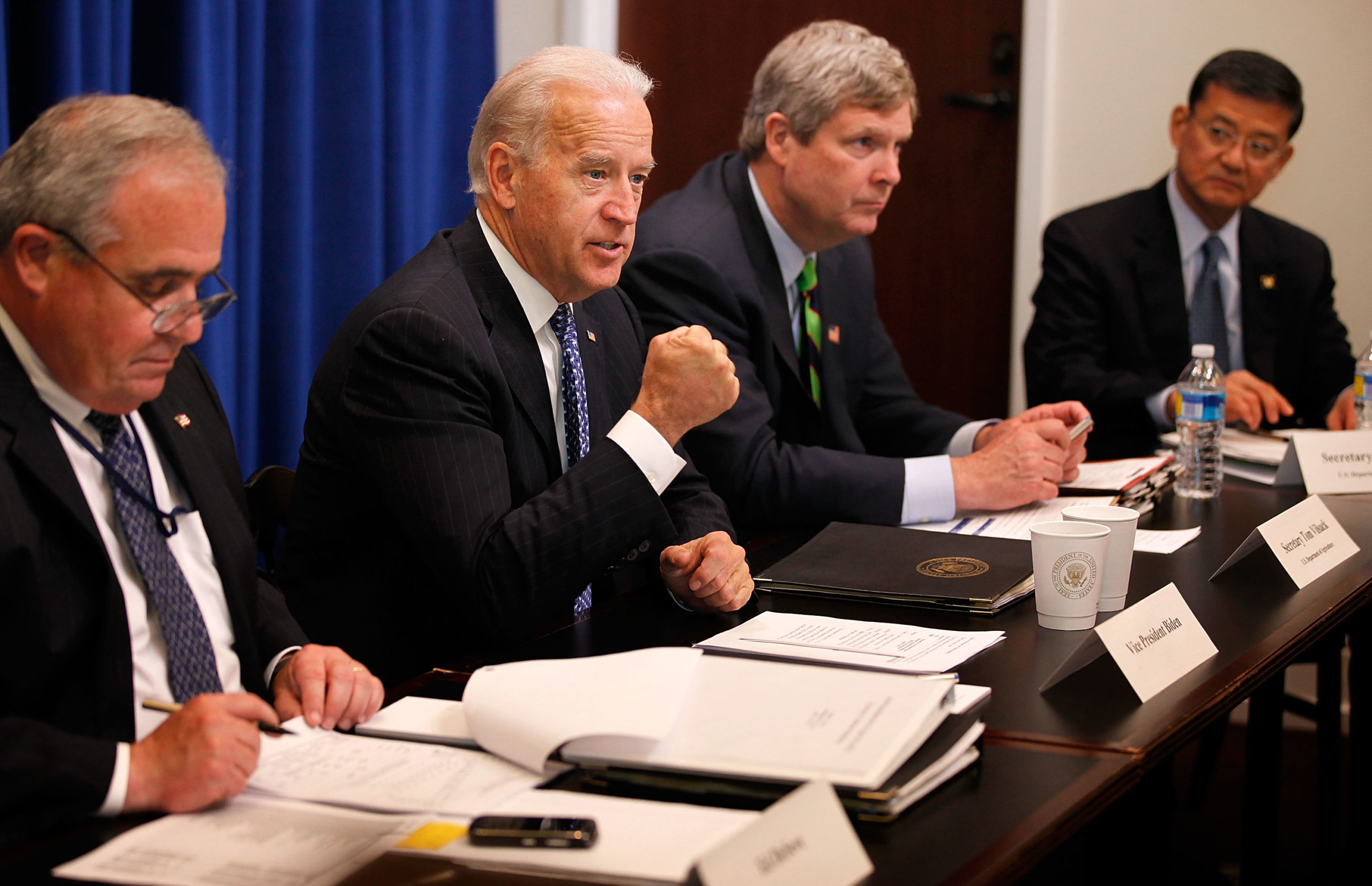 Former Vice President Joe Biden leads a cabinet meeting with Agriculture Sec. Tom Vilsack and other Obama Administration department heads on April 29, 2010 in Washington, D.C. (Chip Somodevilla/Getty Images)
