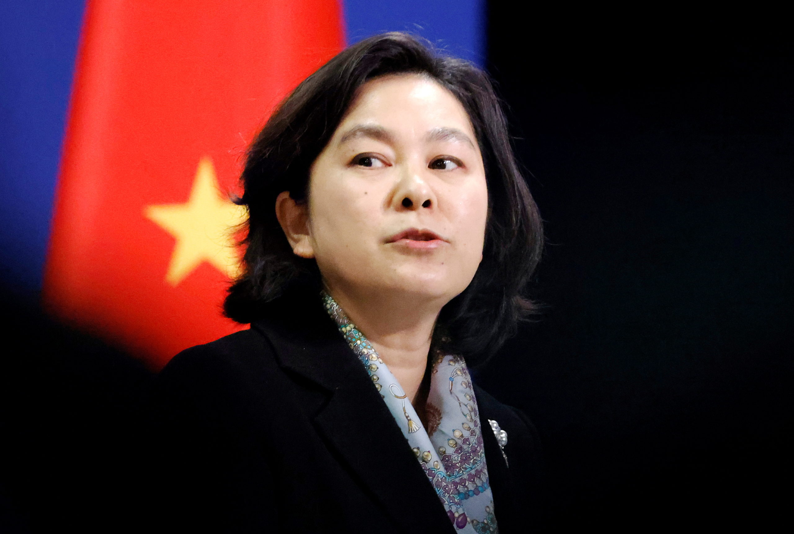 Chinese Foreign Ministry spokeswoman Hua Chunying holds a news conference in Beijing, China, November 30, 2020. (REUTERS/Thomas Peter)