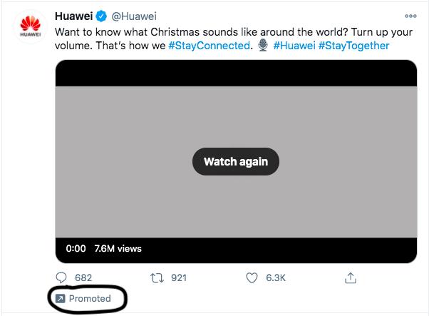 Huawei Twitter promotion.