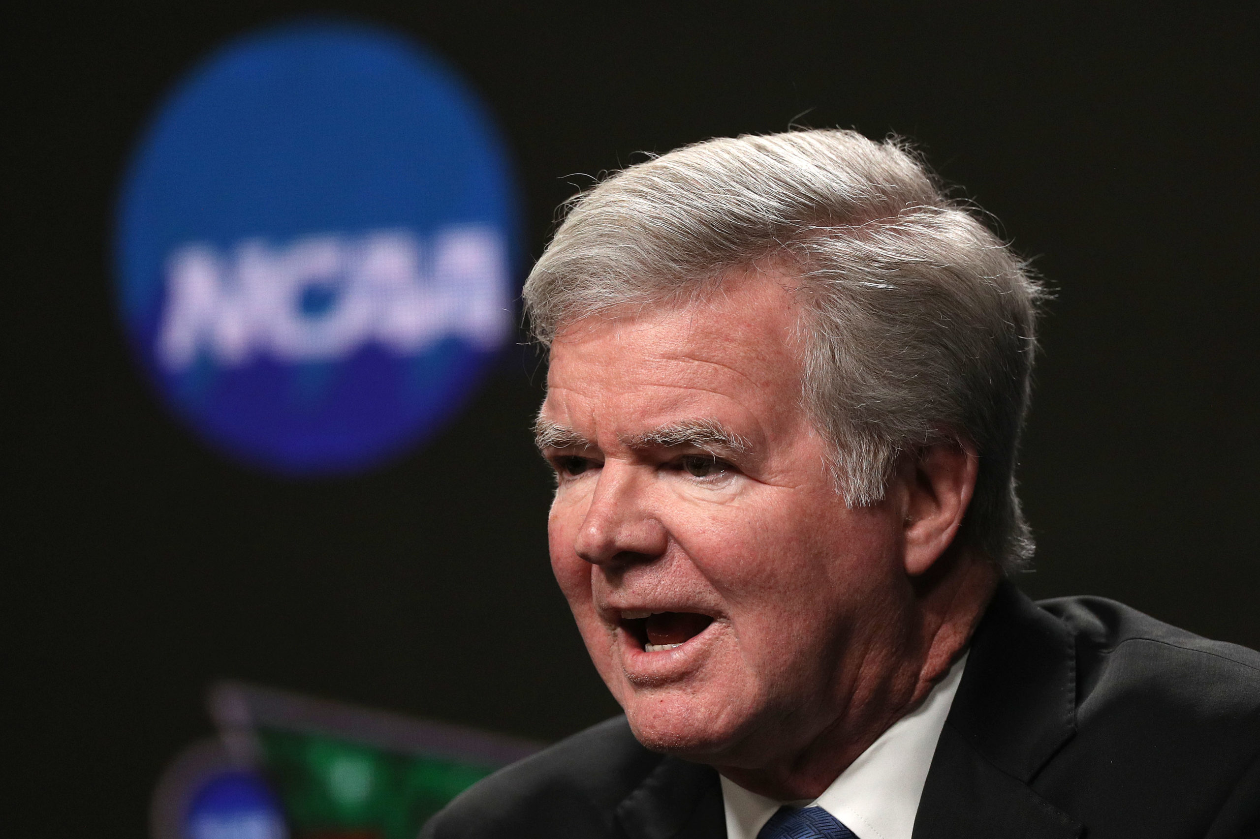 President of the National Collegiate Athletic Association Mark Emmert speaks to the media ahead of the Men's Final Four at U.S. Bank Stadium on April 04, 2019 in Minneapolis, Minnesota. (Photo by Maxx Wolfson/Getty Images)