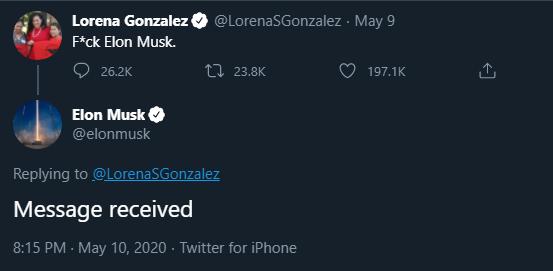 Elon Musk and California Assemblywoman Lorena Gonzalez have an exchange on Twitter. (Screenshot/Twitter)