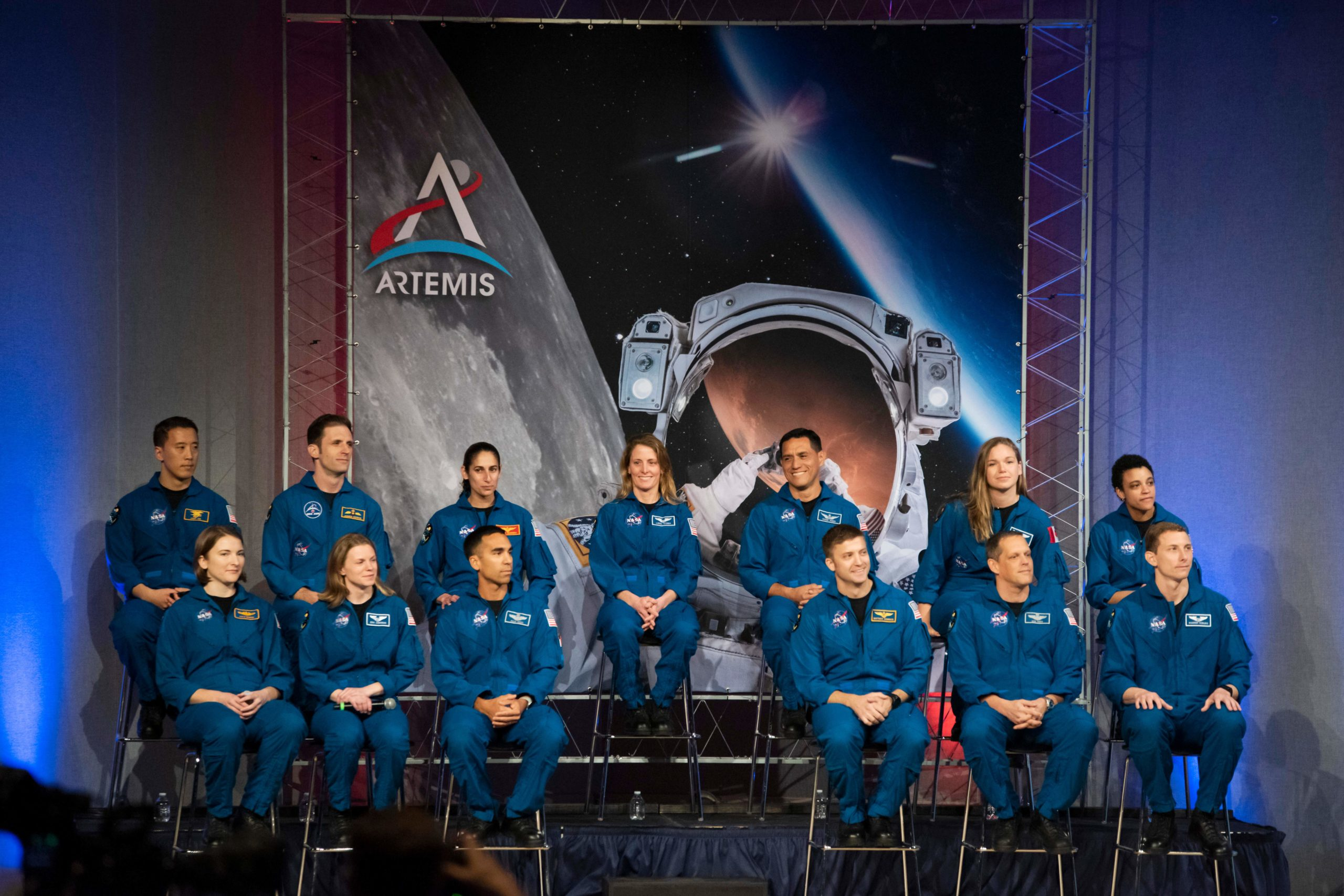 NASA and Canadian Space Agency (CSA) astronauts are introduced during their graduation at Johnson Space Center in Houston Texas. They are the first candidates to graduate under the Artemis program (Photo by MARK FELIX/AFP via Getty Images)