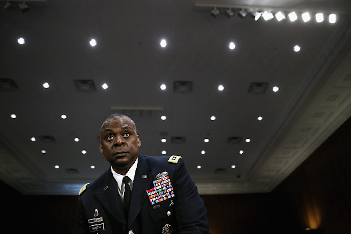 Gen. Lloyd Austin III, commander of U.S. Central Command, prepares to testify before the Senate Armed Services Committee in the Dirksen Senate Office Building on Capitol Hill September 16, 2015 in Washington, DC. (Photo by Chip Somodevilla/Getty Images)