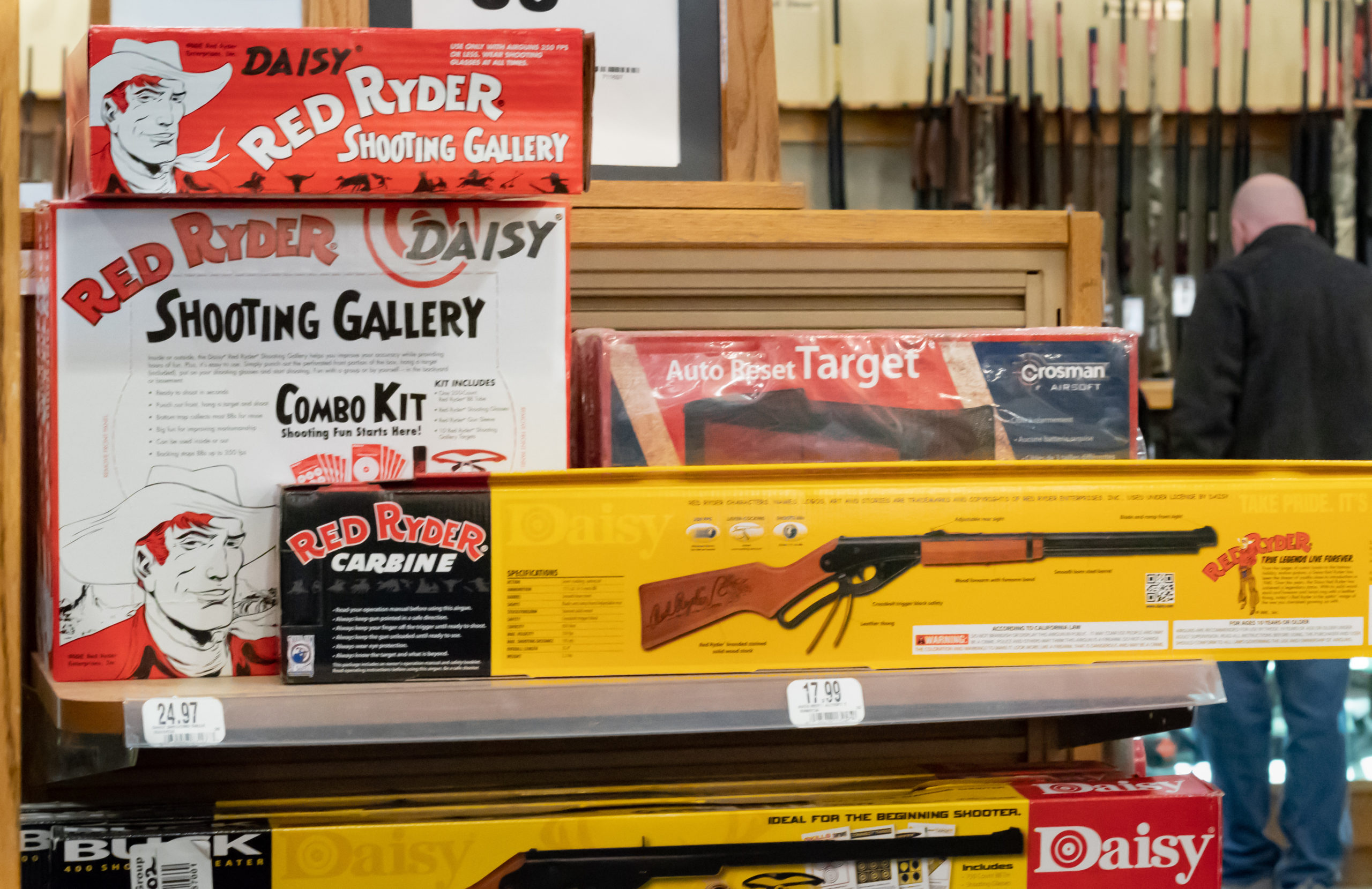 Toy guns for sale on display (Photo credit: Shutterstock)