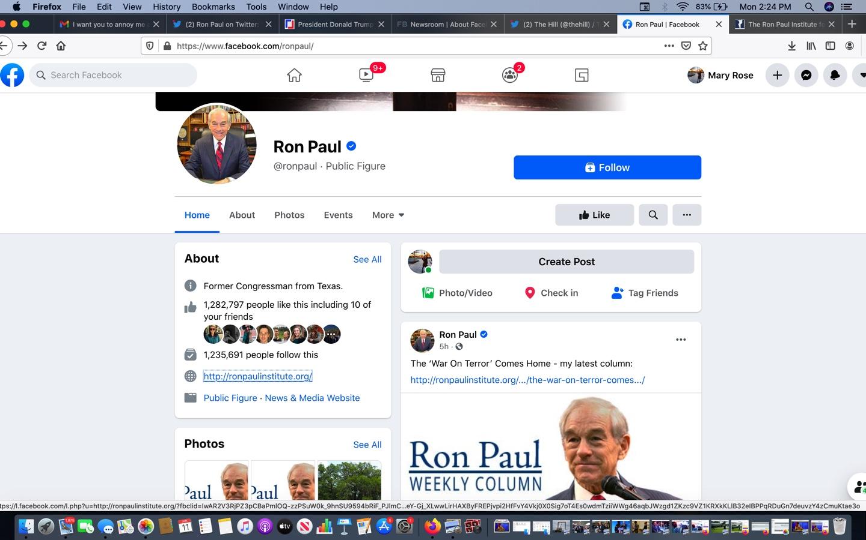 SCREENSHOT/Facebook-Ron Paul