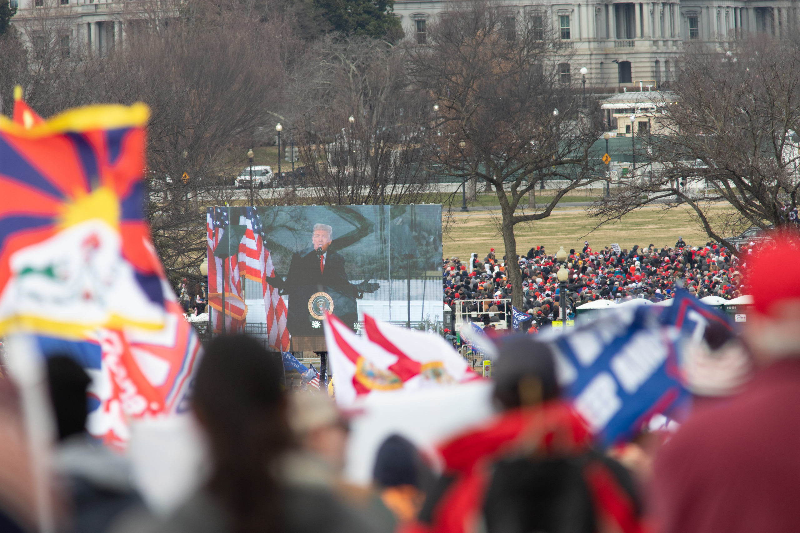President Donald Trump addresses a crowd of thousands of supporters in Washington, D.C. on Jan. 6, 2021. (Kaylee Greenlee - Daily Caller News Foundation)