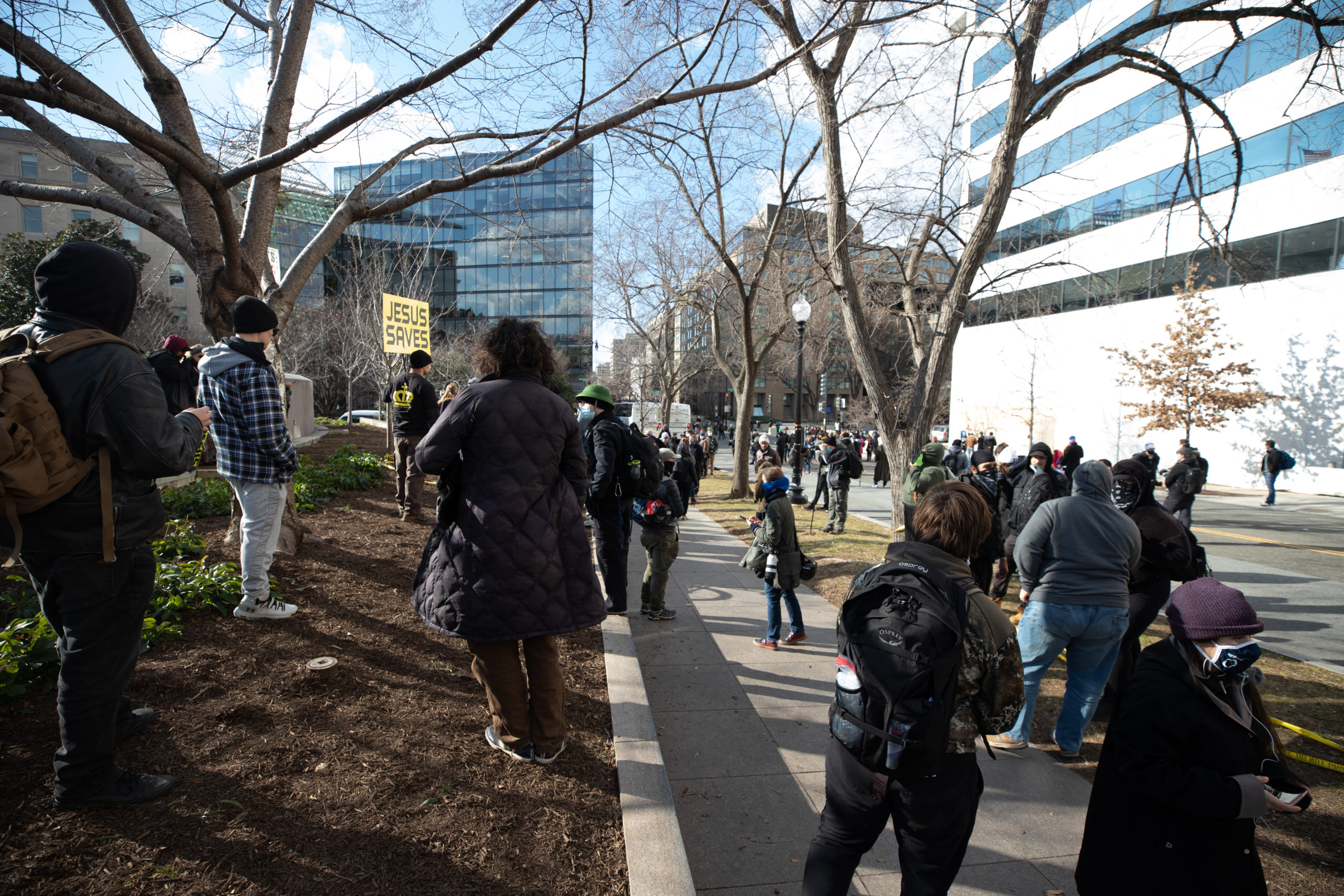 Several religious demonstrators gathered near Union Station in Washington, D.C. on Jan. 20, 2021. (Kaylee Greenlee - Daily Caller News Foundation)