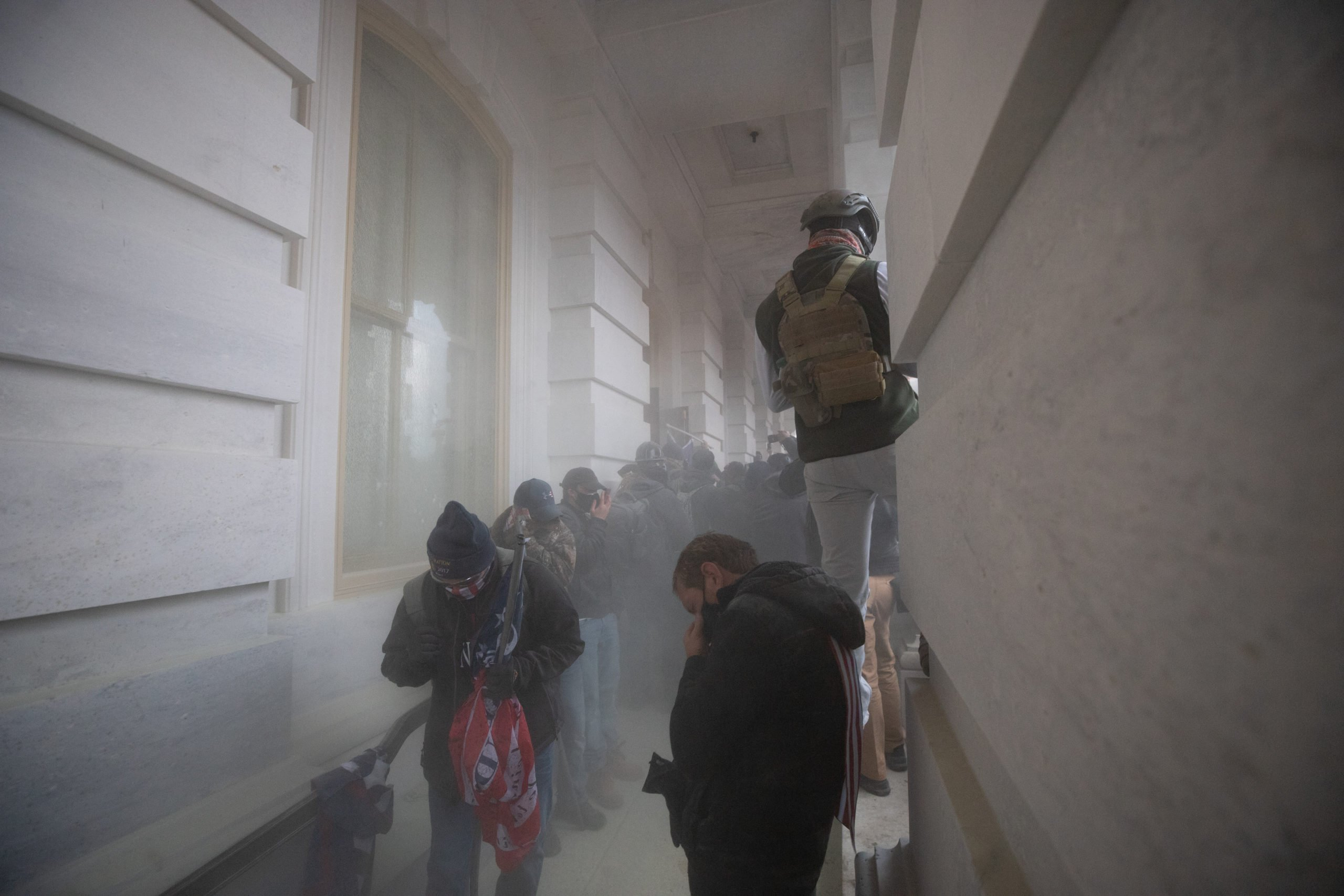 A chemical agent was deployed against protesters attempting to enter the Capitol Building from a side door in Washington, D.C. on Jan. 6, 2021. (Kaylee Greenlee - Daily Caller News Foundation)