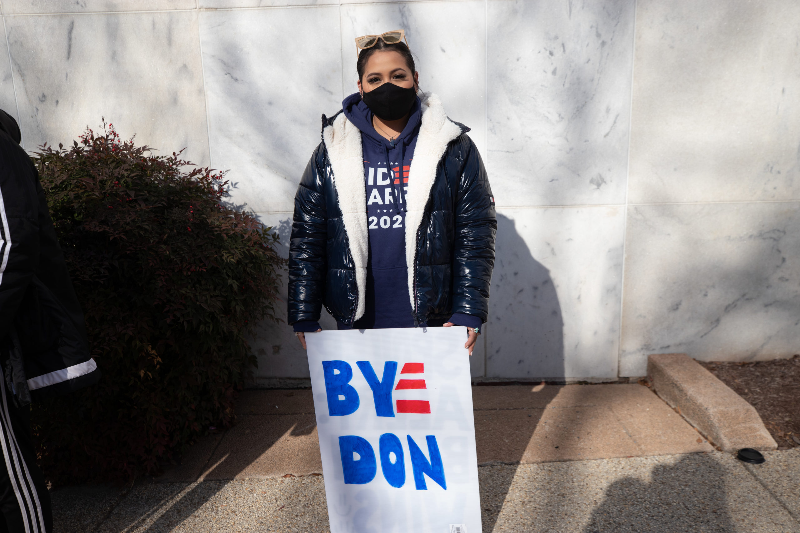 Kenia Viteria said that she watched the inauguration virtually but wanted to walk around to show her support for President Joe Biden in Washington, D.C. on Jan. 20, 2021. (Kaylee Greenlee - Daily Caller News Foundation)