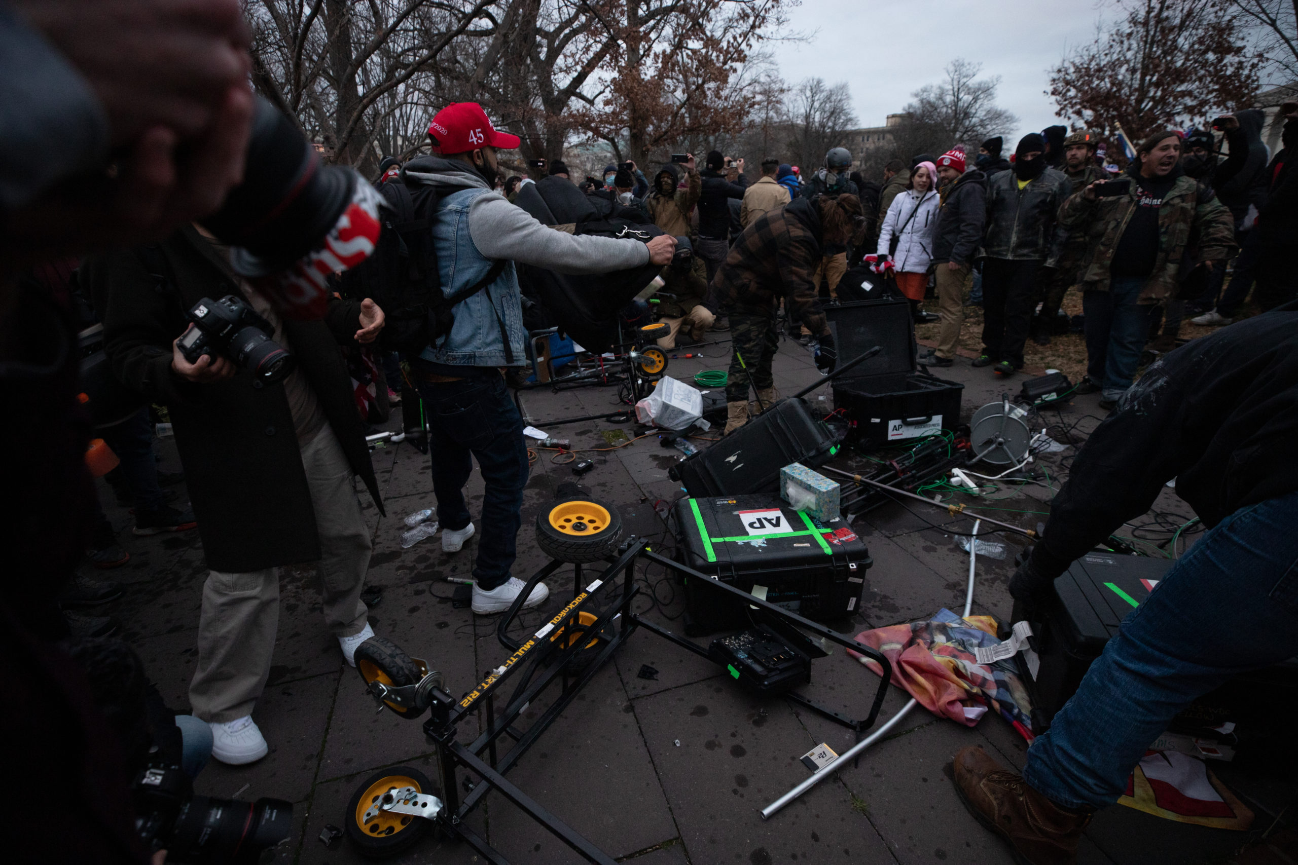 Protesters smashed media gear out on the Capitol Grounds in Washington, D.C. on Jan. 6, 2021. (Kaylee Greenlee - Daily Caller News Foundation)