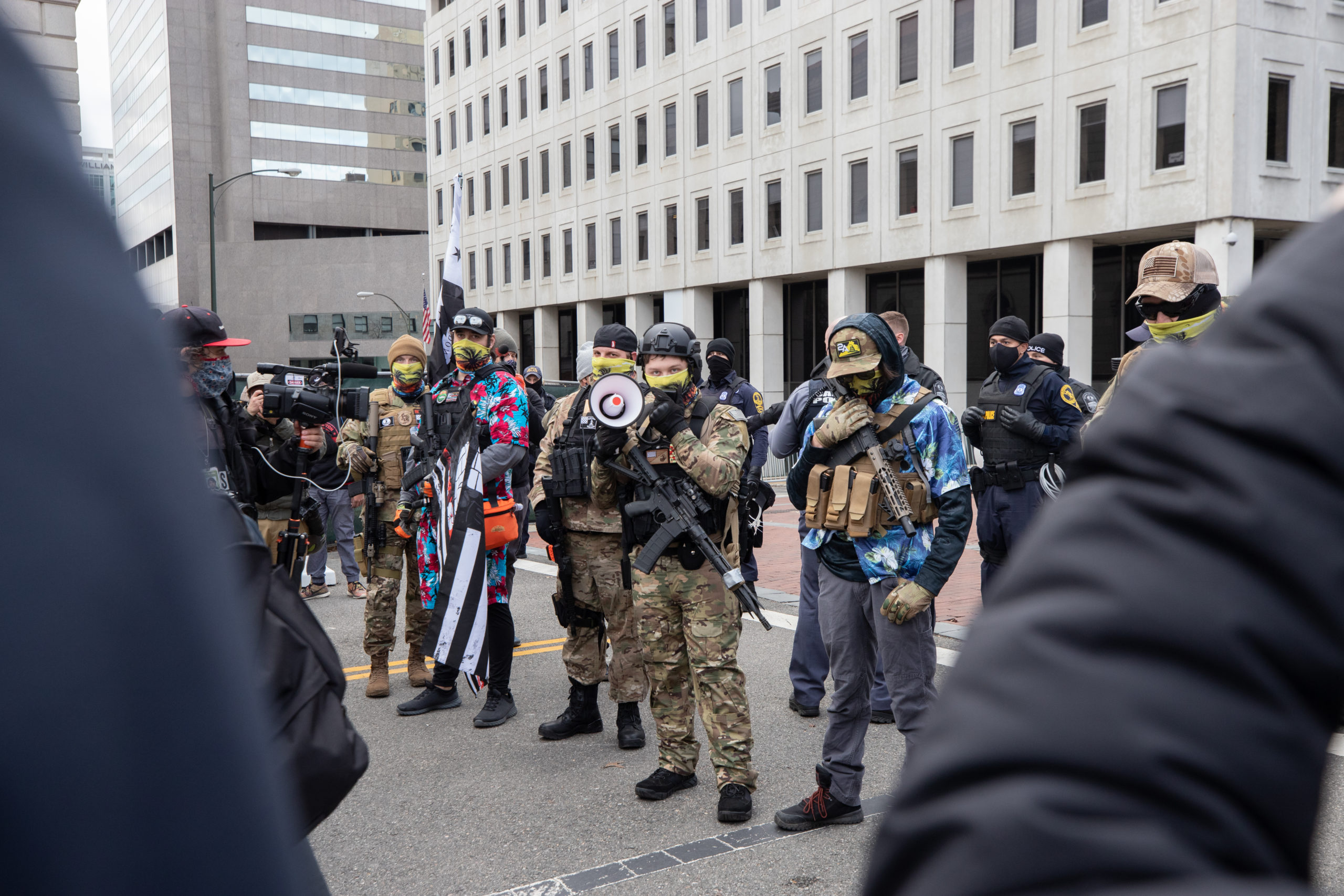 Self-described Boogaloo Boi leader Mike Dunn addressed a crowd in front of the state capitol in Richmond, Virginia on January 18, 2021. (Kaylee Greenlee - Daily Caller News Foundation)