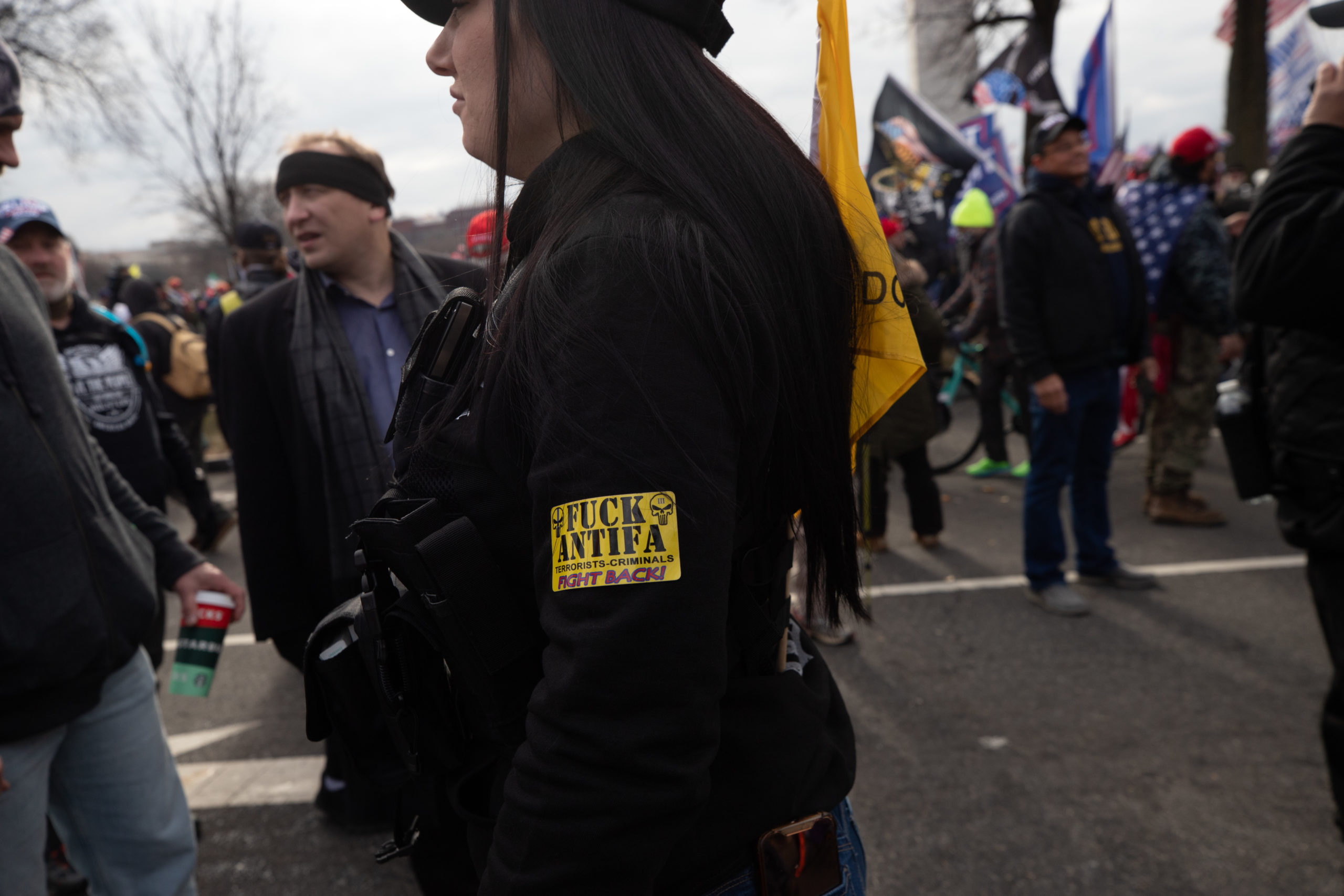 "A member of the Three Percenters wore a ""fuck Antifa"" patch on her arm in Washington, D.C. on Jan. 6, 2021. (Kaylee Greenlee - Daily Caller News Foundation)"