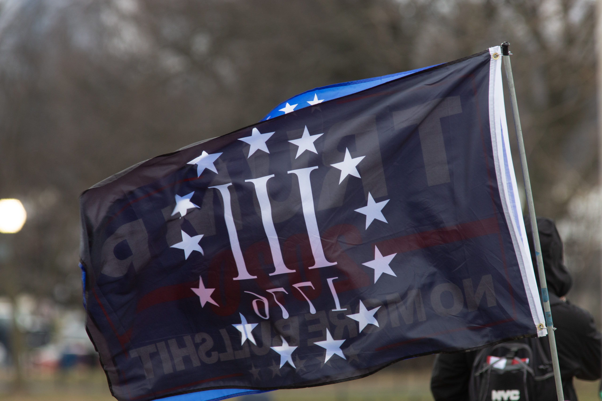 A Three Percenters flag flew with a Trump flag ahead of his rally in Washington, D.C. on Jan. 6, 2021. (Kaylee Greenlee – Daily Caller News Foundation)