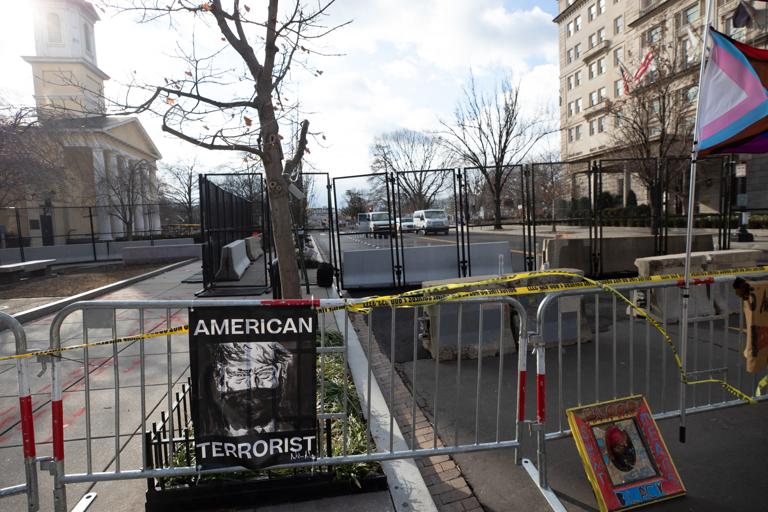 Several barriers were set up blocking off Lafayette Park from Black Lives Matter Plaza in Washington, D.C. on Jan. 20, 2021. (Kaylee Greenlee - Daily Caller News Foundation)