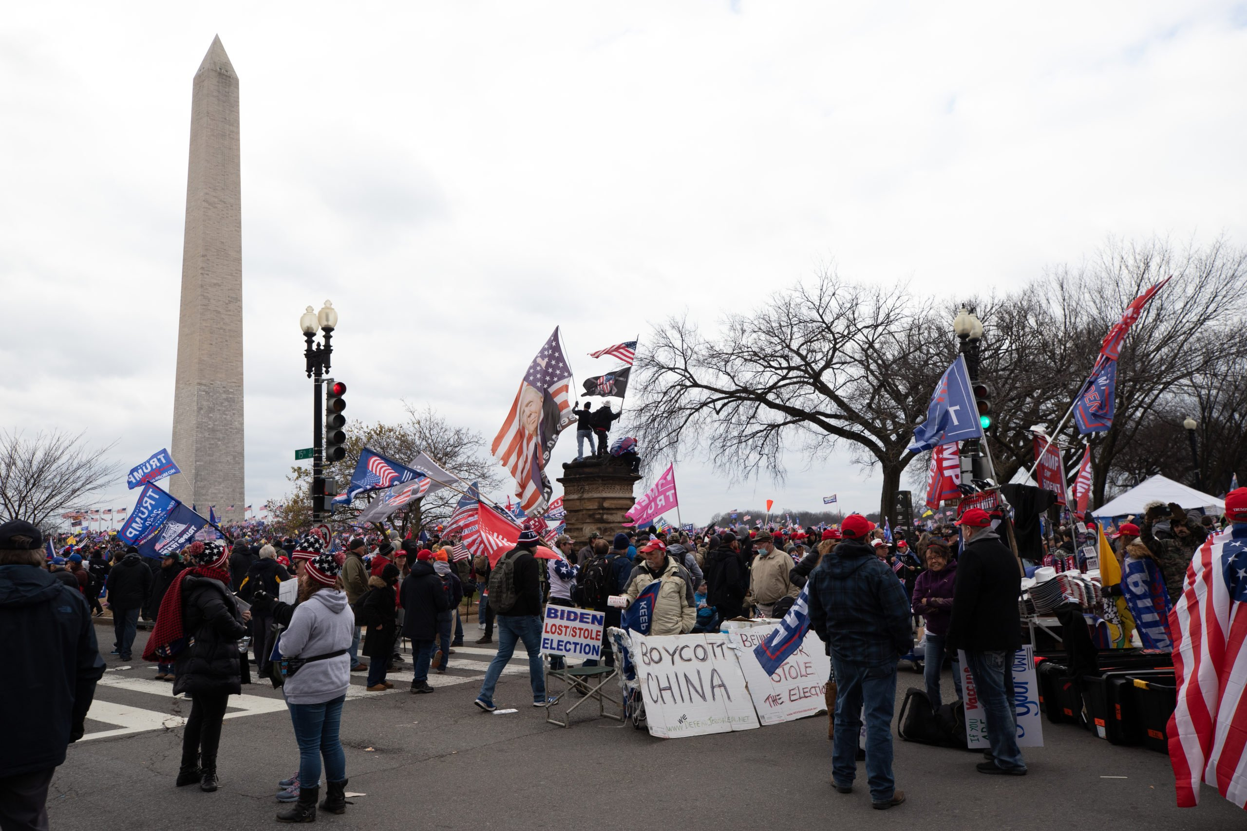 People overflowed from The Ellipse into the National Mall and up to the Washington Monument while waiting to hear President Donald Trump Speak in Washington, D.C. on Jan. 6, 2021. (Kaylee Greenlee - Daily Caller News Foundation)