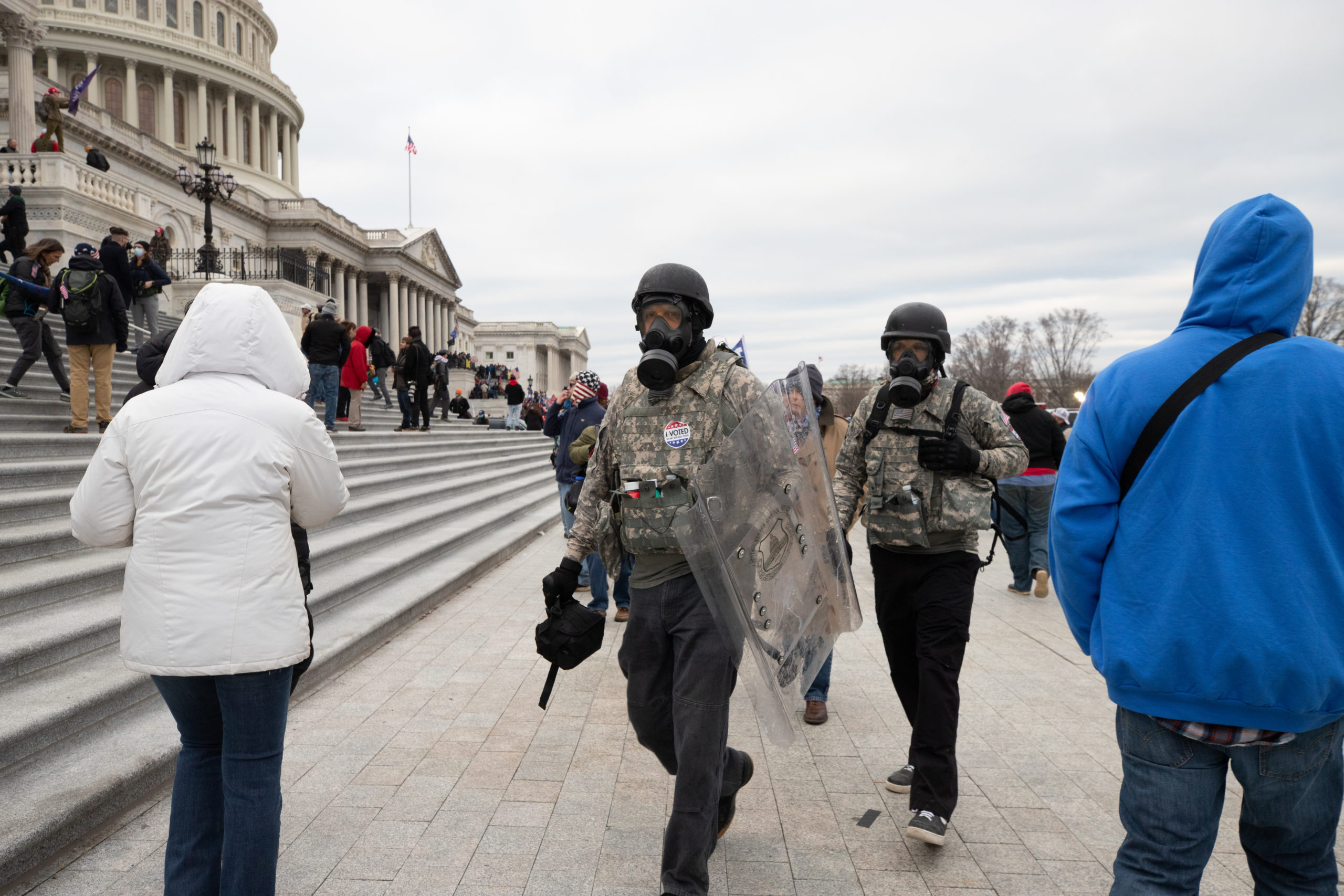 A protester somehow obtained a Capitol Police riot shield near the Capitol Building in Washington, D.C. on Jan. 6, 2021. (Kaylee Greenlee - Daily Caller News Foundation)