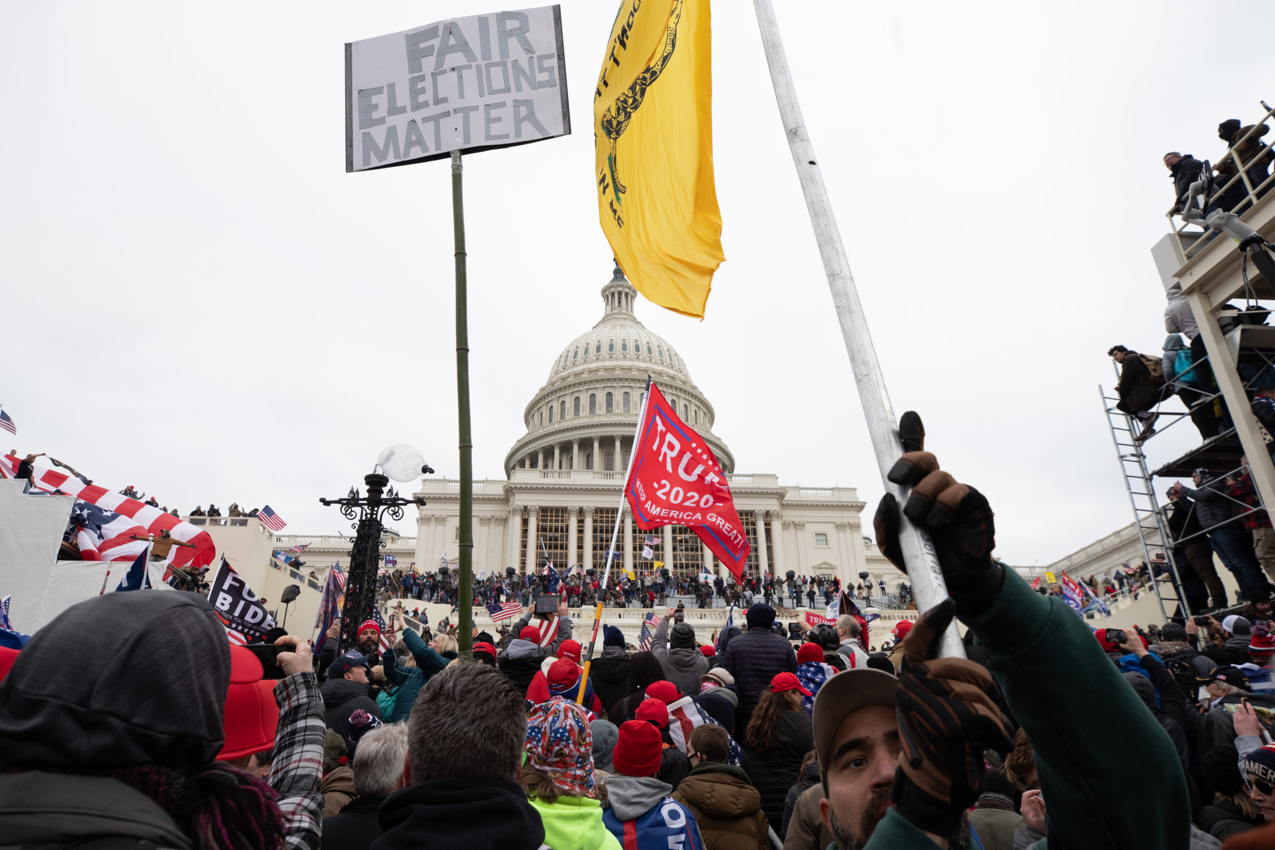 A crowd of Trump supporters march toward the U.S. Capitol on Wednesday. (Kaylee Greenlee/Daily Caller News Foundation)
