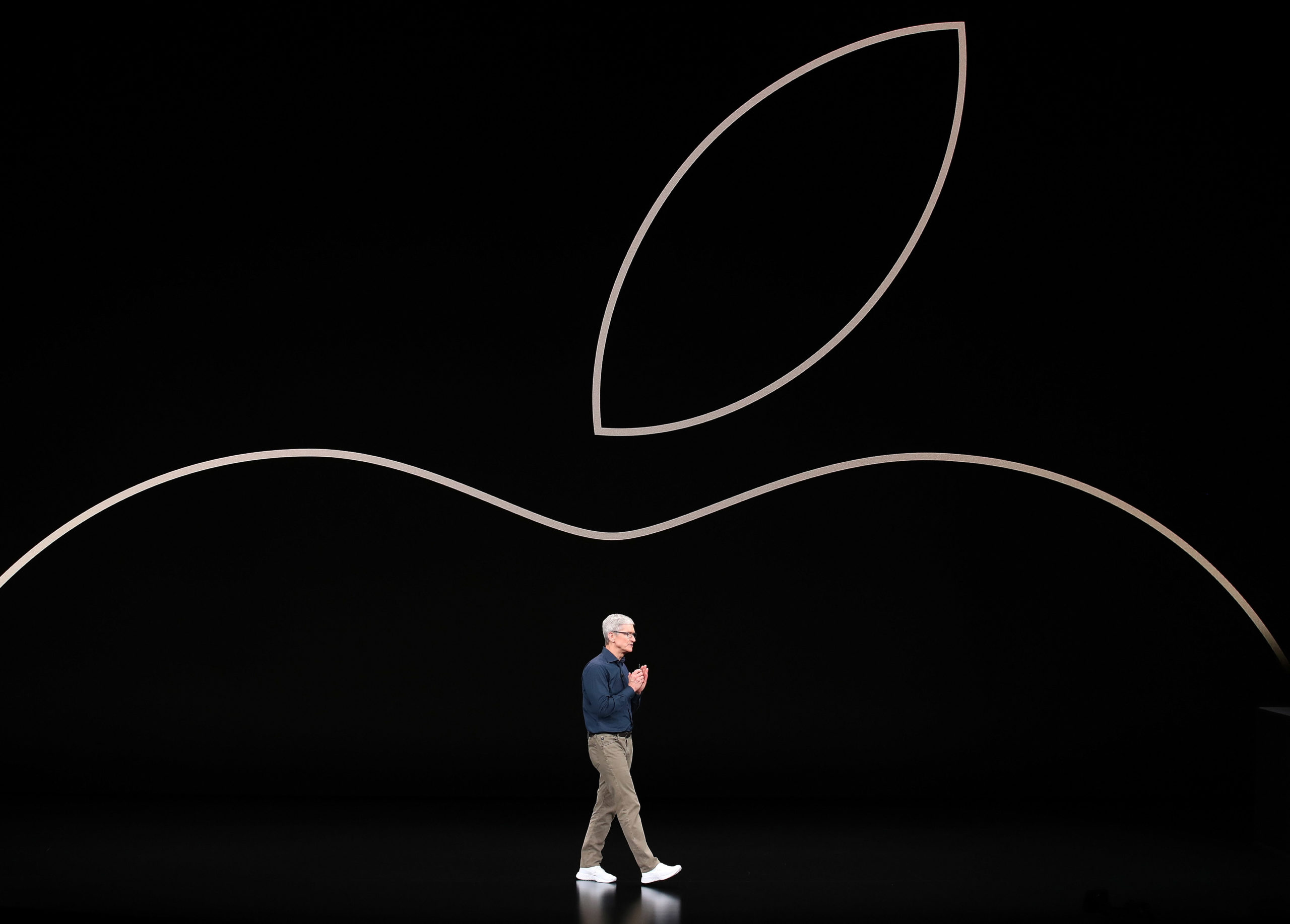 Tim Cook, chief executive officer of Apple, speaks during an Apple event in Cupertino, California. (Justin Sullivan/Getty Images)