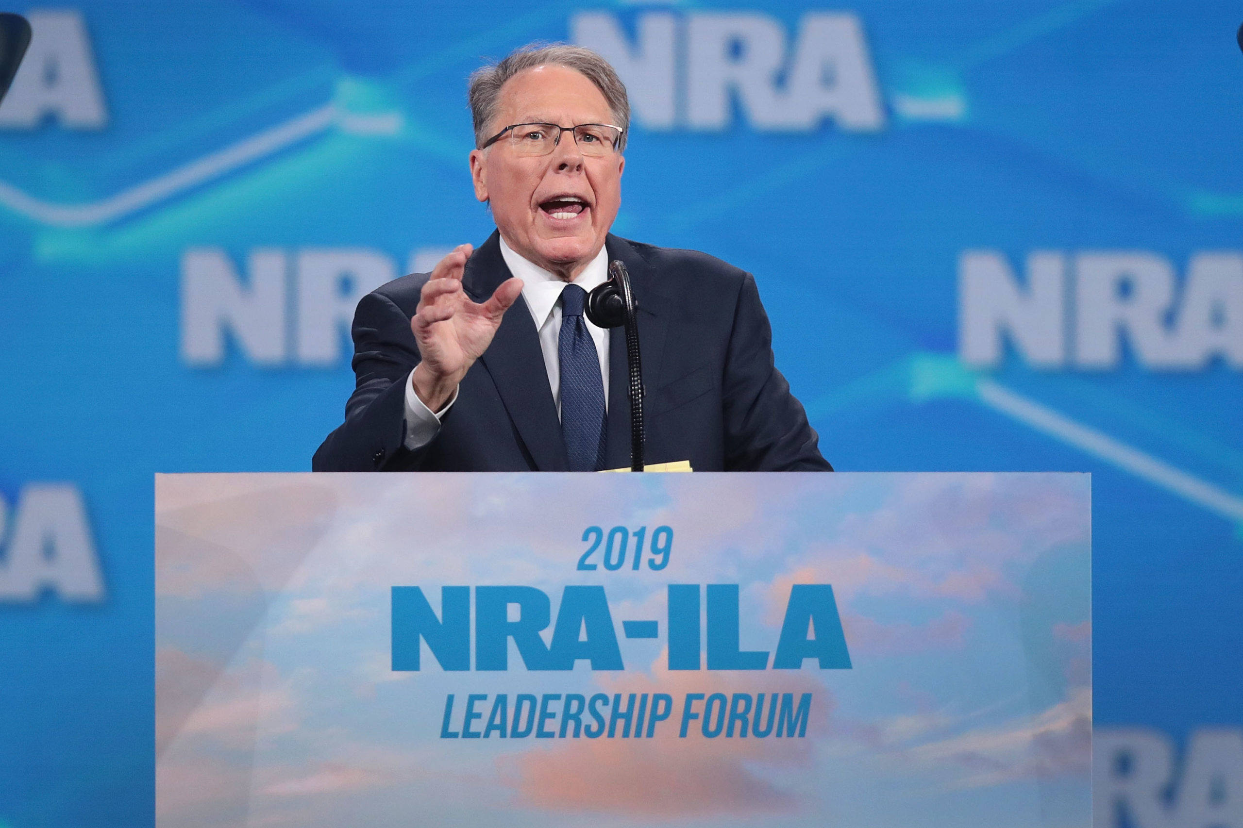 Wayne LaPierre, NRA vice president and CEO, speaks to guests at the NRA-ILA Leadership Forum in 2019 in Indianapolis, Indiana. (Scott Olson/Getty Images)