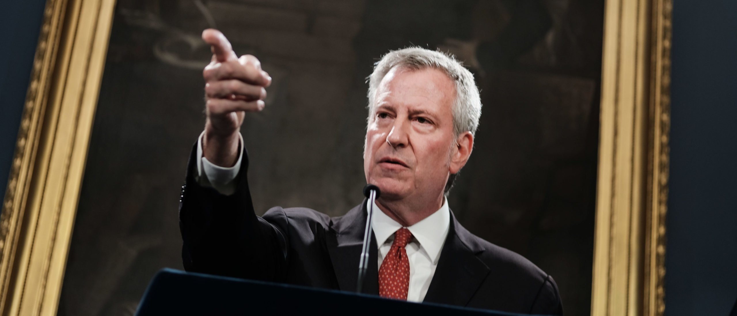 New York City Mayor Bill de Blasio speaks to the media following news that a judge has recommended that Daniel Pantaleo, the New York City police officer at the center of Eric Garner's July 2014 death case, should be fired from the police department on August 02, 2019 in New York City. It will now be up to the city's police commissioner whether Pantaleo will keep his job. (Photo by Spencer Platt/Getty Images)