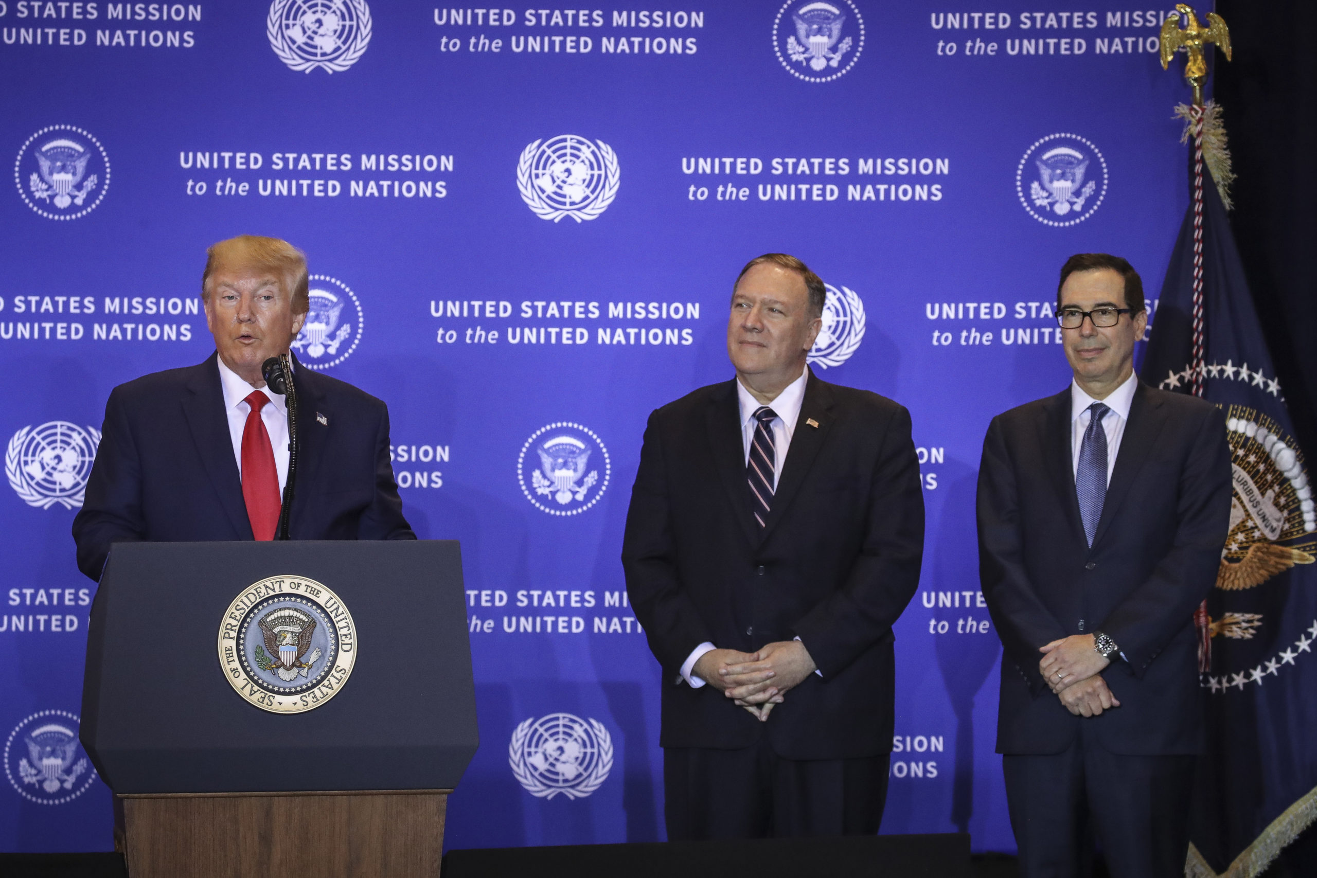 NEW YORK, NY - SEPTEMBER 25: U.S. President Donald Trump speaks as U.S. Secretary of State Mike Pompeo and Treasury Secretary Steven Mnuchin listen during a press conference on the sidelines of the United Nations General Assembly on September 25, 2019 in New York City. Speaker of the House Nancy Pelosi announced yesterday that the House will launch a formal impeachment inquiry into President Trump. (Photo by Drew Angerer/Getty Images)