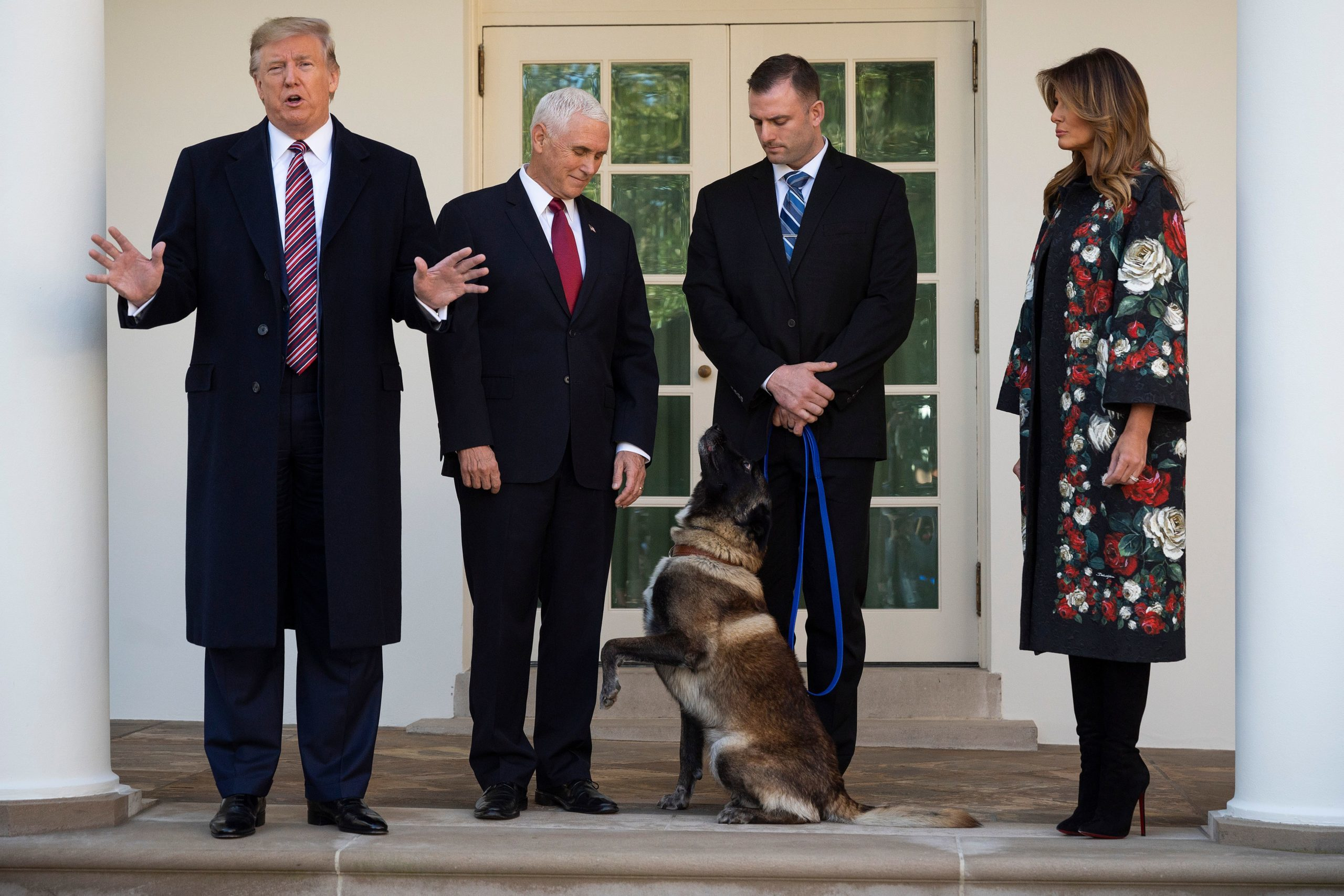 (FILES) In this file photo taken on November 25, 2019, US President Donald Trump (L), Vice President Mike Pence (2nd L) and First Lady Melania Trump (R) stand with Conan, the military dog that was involved with the death of ISIS leader Abu Bakr al-Baghdadi, at the White House in Washington, DC. (Photo by JIM WATSON/AFP via Getty Images)