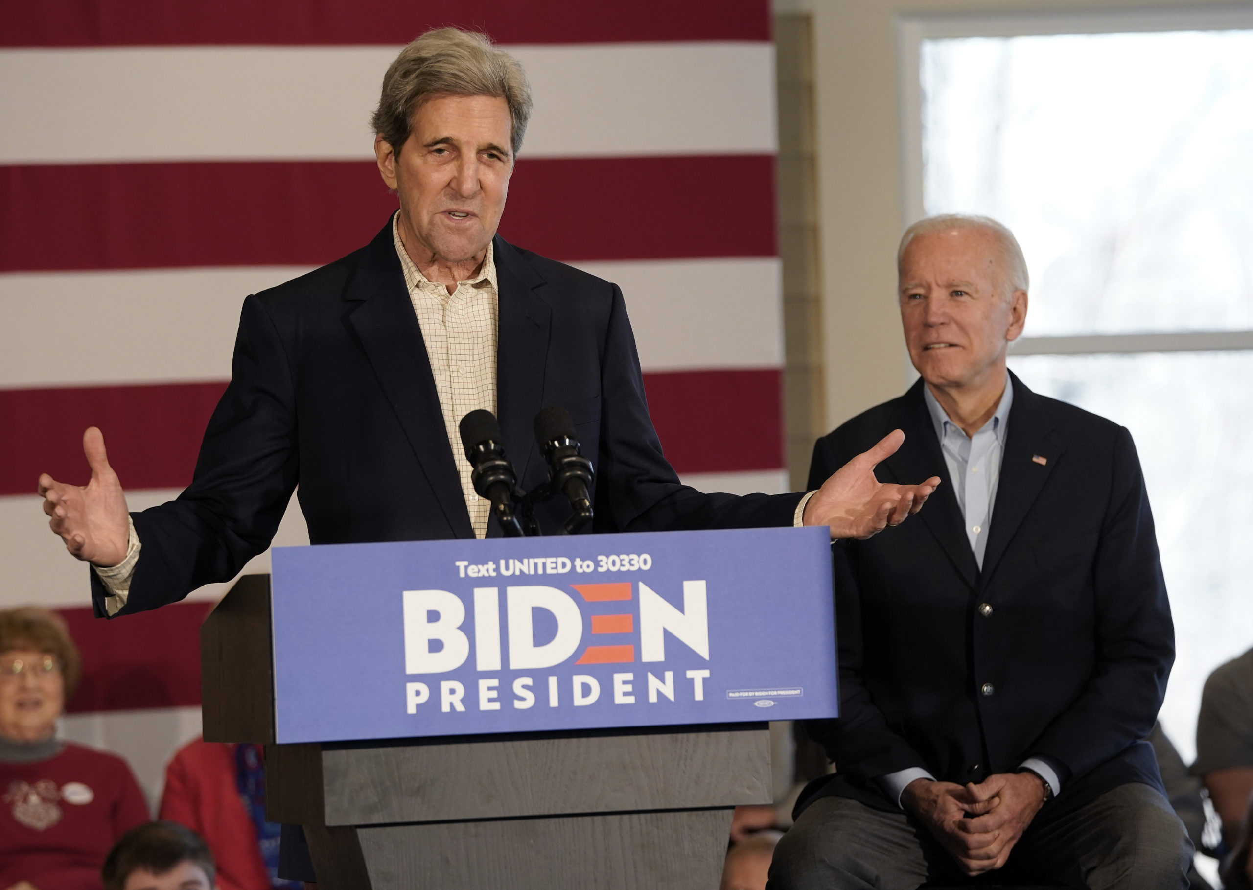 CEDAR RAPIDS, IOWA - DECEMBER 06: Democratic presidential candidate former U.S. Vice president Joe Biden (R) campaigns with former Democratic presidential candidate John Kerry (L) December 6, 2019 in Cedar Rapids, Iowa. Kerry announced his endorsement of Biden yesterday with the Iowa caucuses less than two months away. (Photo by Win McNamee/Getty Images)