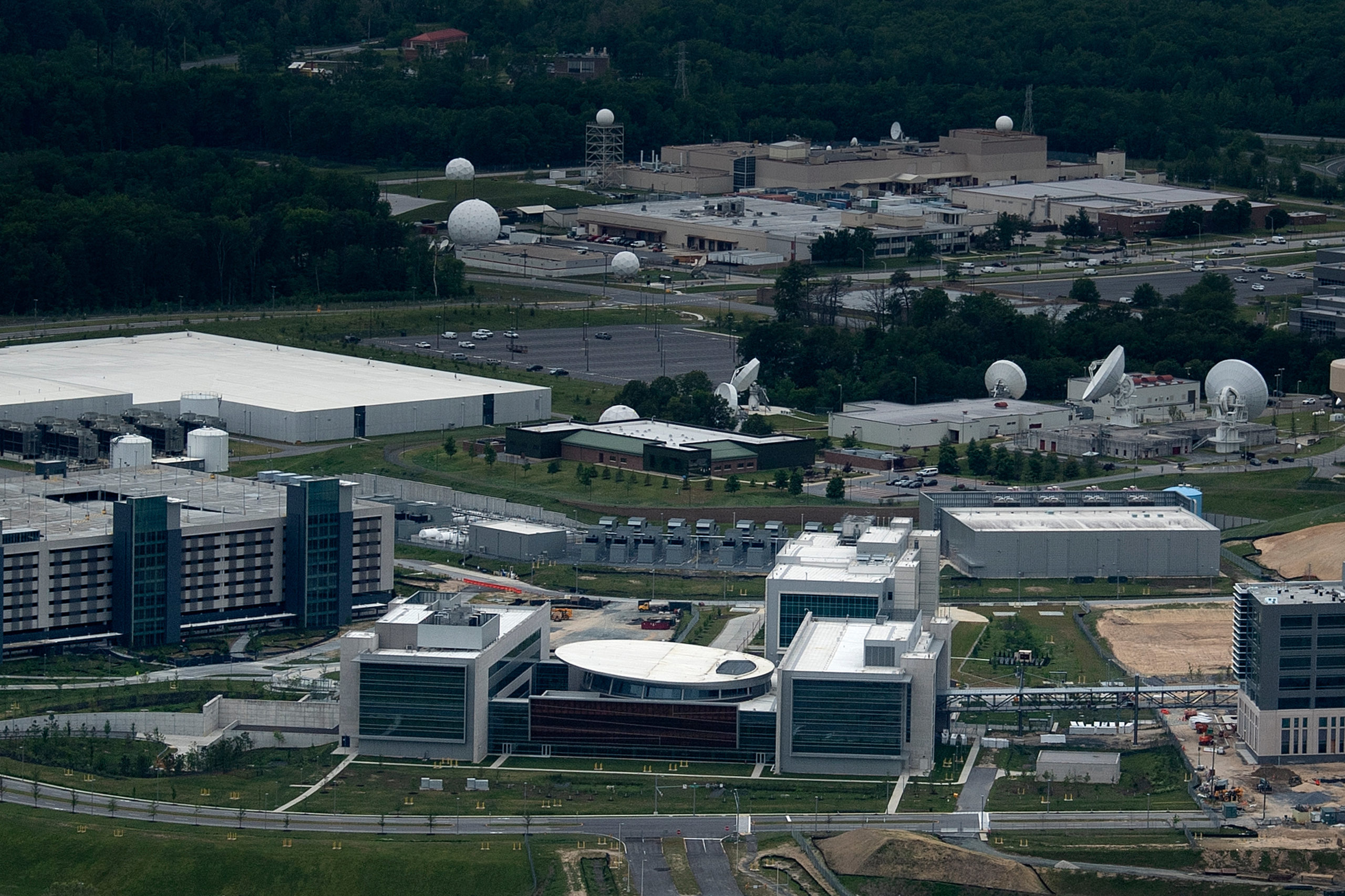 An aerial view of the Cyber Command joint operations center on the National Security Agency campus in Maryland is pictured in May. (Brendan Smialowski/AFP via Getty Images)
