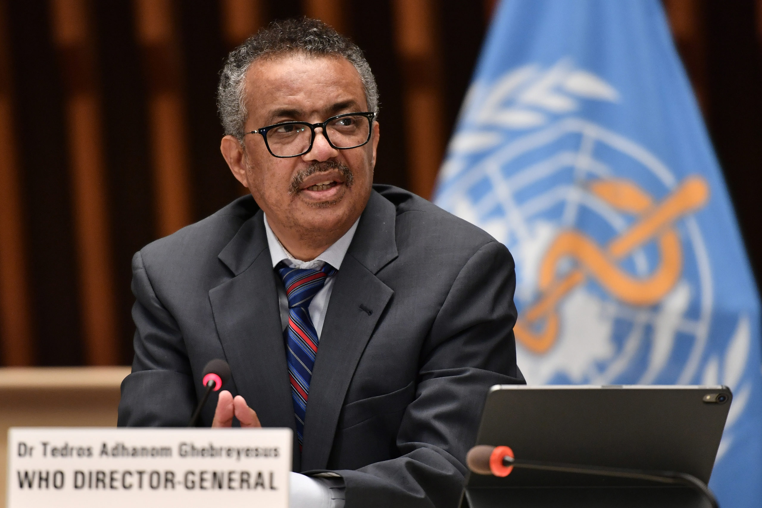 World Health Organization (WHO) Director-General Tedros Adhanom Ghebreyesus attends a press conference organised by the Geneva Association of United Nations Correspondents (ACANU) amid the COVID-19 outbreak, caused by the novel coronavirus, on July 3, 2020 at the WHO headquarters in Geneva. (Photo by Fabrice COFFRINI / POOL / AFP) (Photo by FABRICE COFFRINI/POOL/AFP via Getty Images)