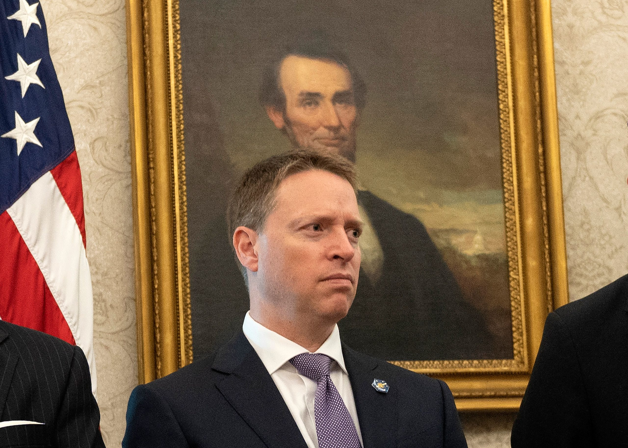 United States Deputy National Security Advisor Matthew Pottinger looks on as US President Donald Trump speaks in the Oval Office of the White House in Washington, DC, on September 11, 2020. (Photo by ANDREW CABALLERO-REYNOLDS/AFP via Getty Images)