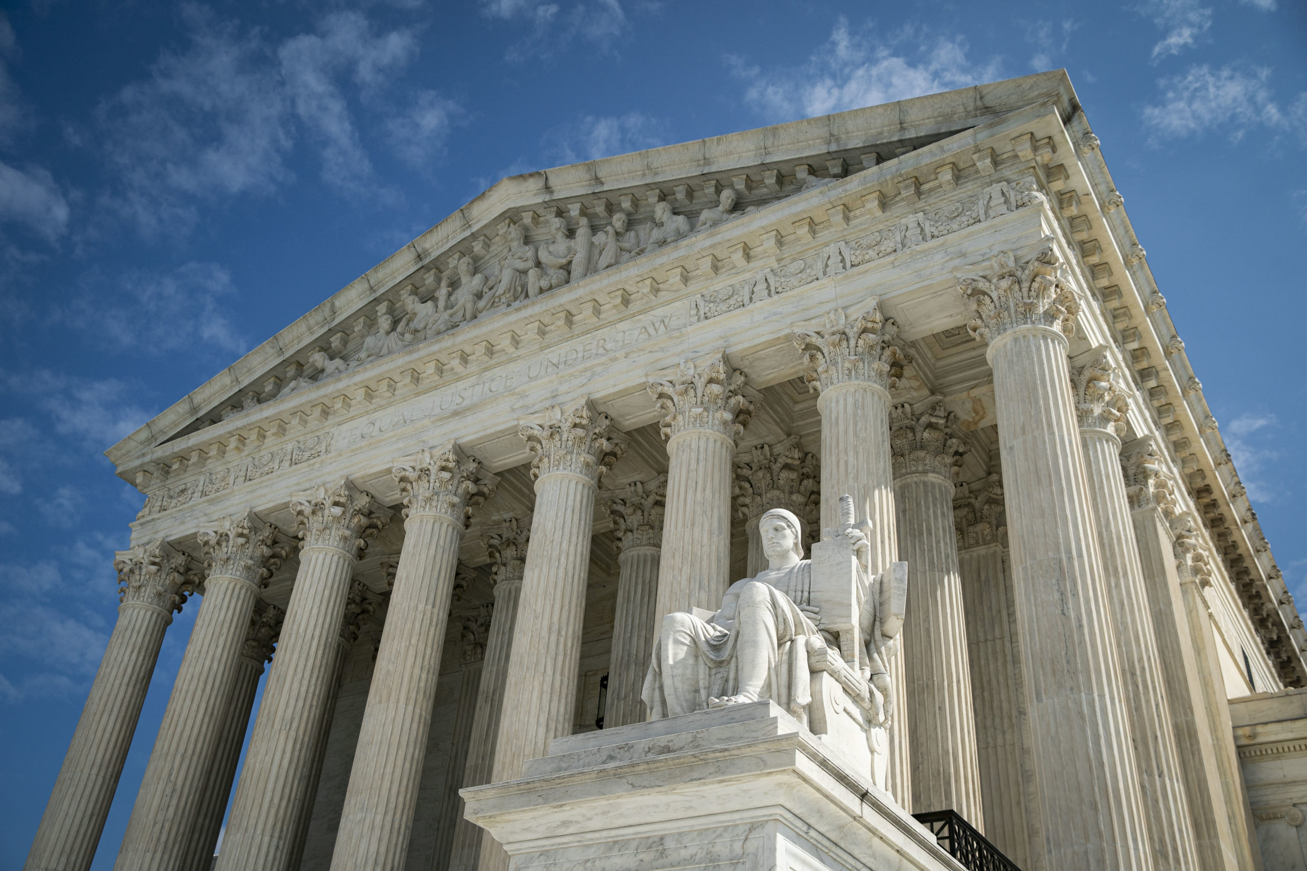 WASHINGTON, DC - SEPTEMBER 28: The Guardian or Authority of Law, created by sculptor James Earle Fraser, rests on the side of the U.S. Supreme Court on September 28, 2020 in Washington, DC. This week Seventh U.S. Circuit Court Judge Amy Coney Barrett, U.S. President Donald Trump's nominee to the Supreme Court, will begin meeting with Senators as she seeks to be confirmed before the presidential election. (Photo by Al Drago/Getty Images)
