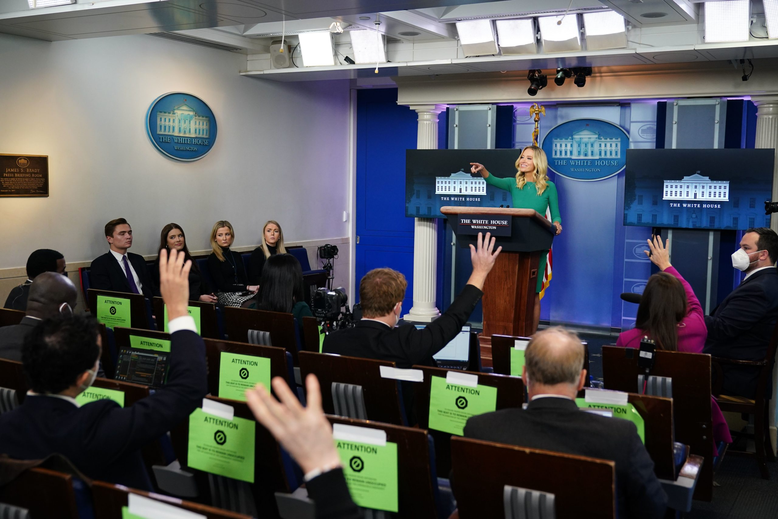 White House Press Secretary Kayleigh McEnany takes questions from the media during a press briefing on November 20, 2020, in the Brady Briefing Room of the White House in Washington, DC. (Photo by MANDEL NGAN/AFP via Getty Images)