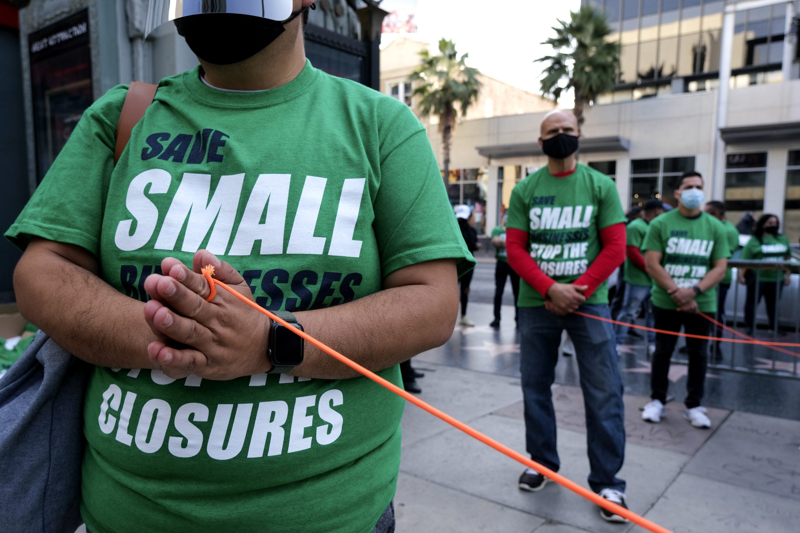 Small business owners protest in California on Dec. 12. (Ringo Chiu/AFP via Getty Images)