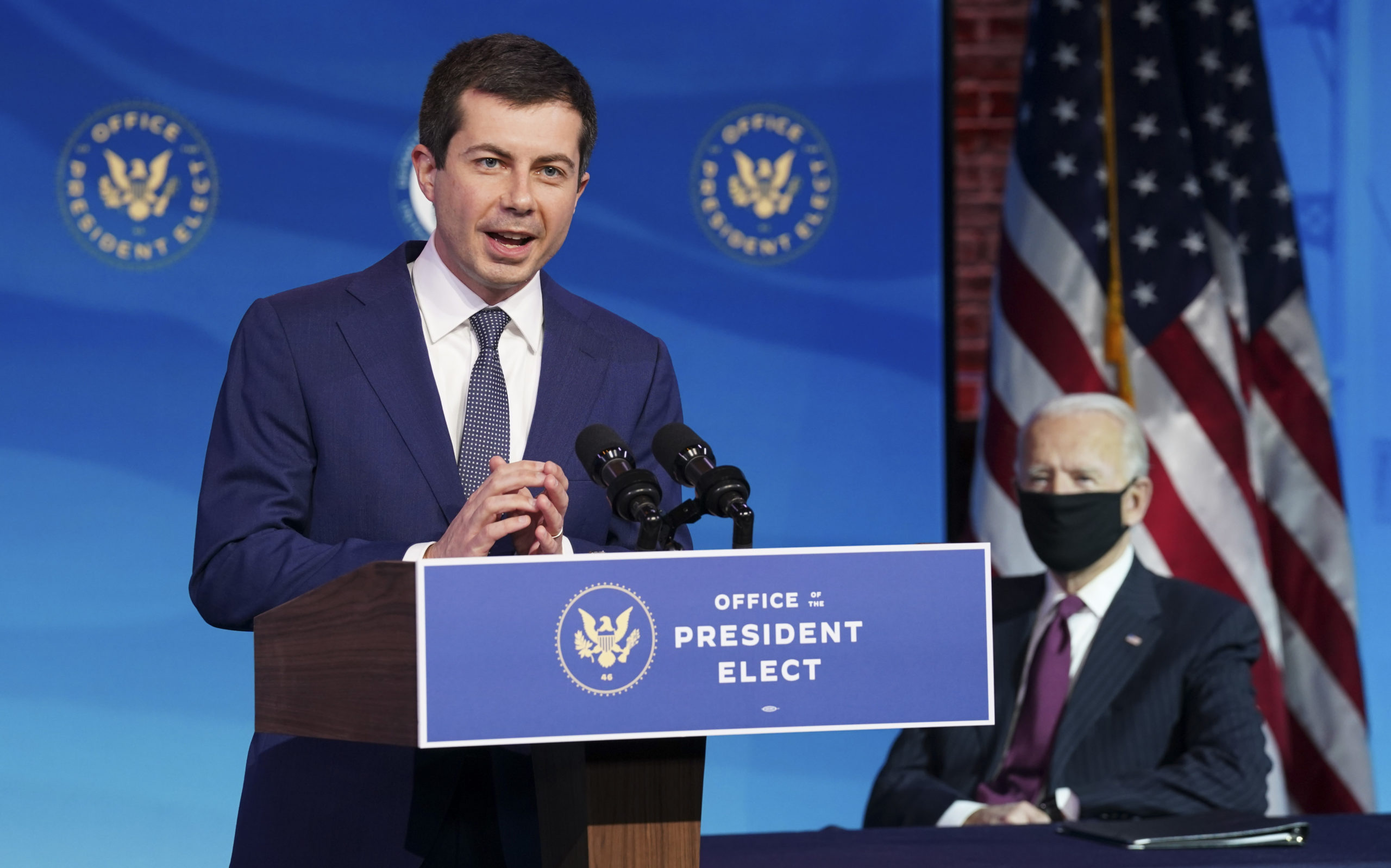 Former South Bend, Indiana Mayor Pete Buttigieg speaks in Wilmington, Delaware on Dec. 16. (Kevin Lamarque/Pool/AFP via Getty Images)
