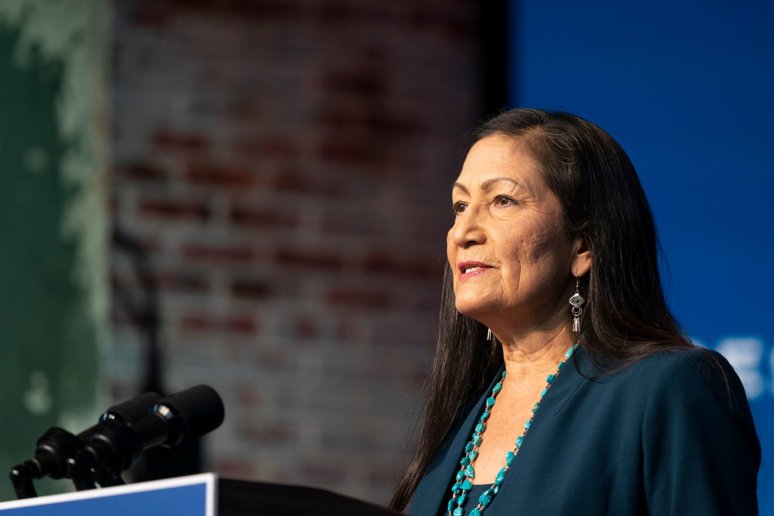 Congresswoman Deb Haaland delivers remarks after being introduced as US President-elect Joe Bidens nominee to be the next US Secretary of Interior at the Queen Theater on December 19, 2020 in Wilmington, Delaware. (ALEX EDELMAN/AFP via Getty Images)
