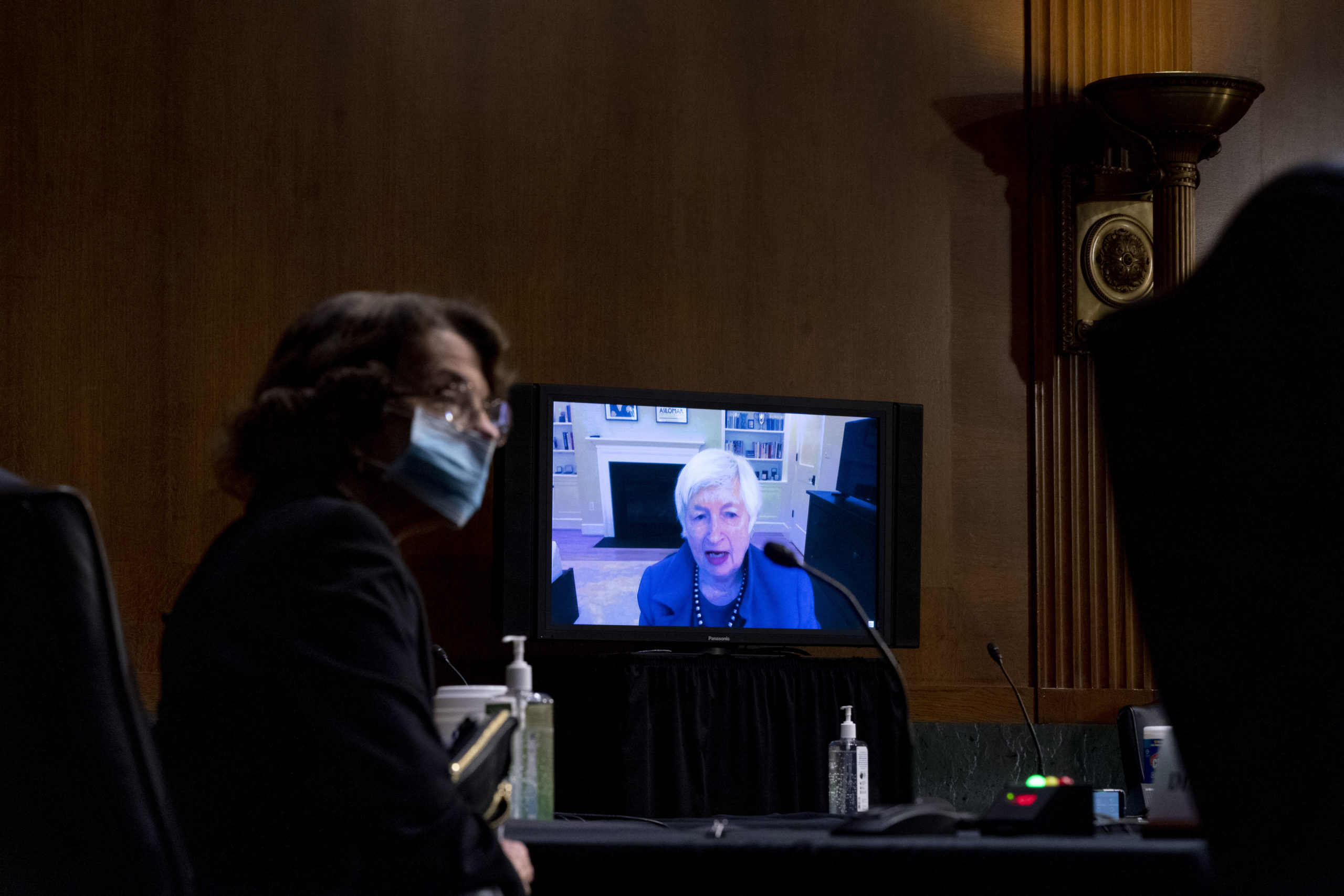 Sen. Dianne Feinstein listens to Janet Yellen give her opening statement via videoconference during a Senate hearing Tuesday. (Andrew Harnik-Pool/Getty Images)