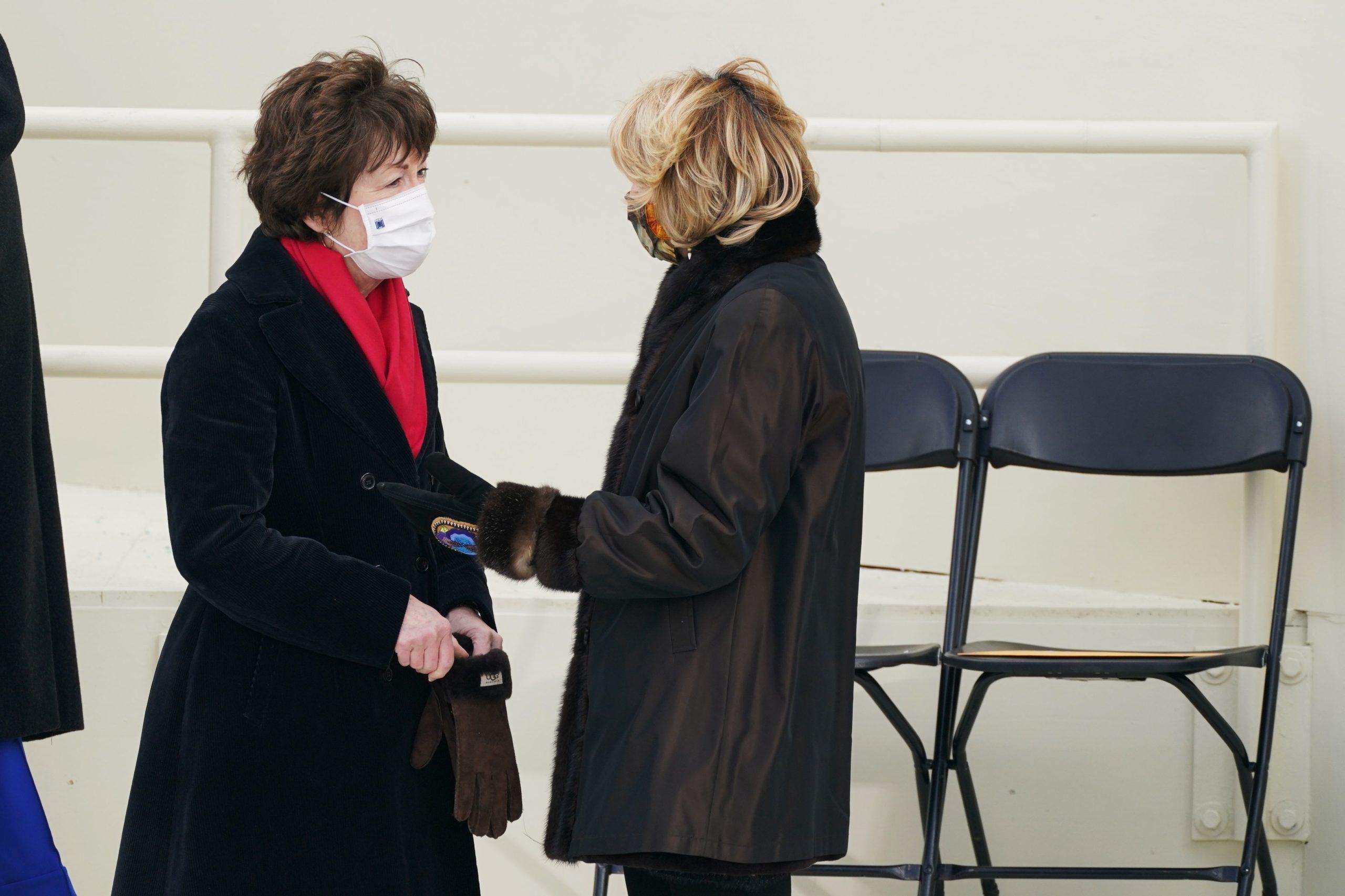 Sens. Susan Collins and Lisa Murkowski speak before President Joe Biden's inauguration ceremony at the Capitol on Jan. 20. (Patrick Semansky/Pool/AFP via Getty Images)