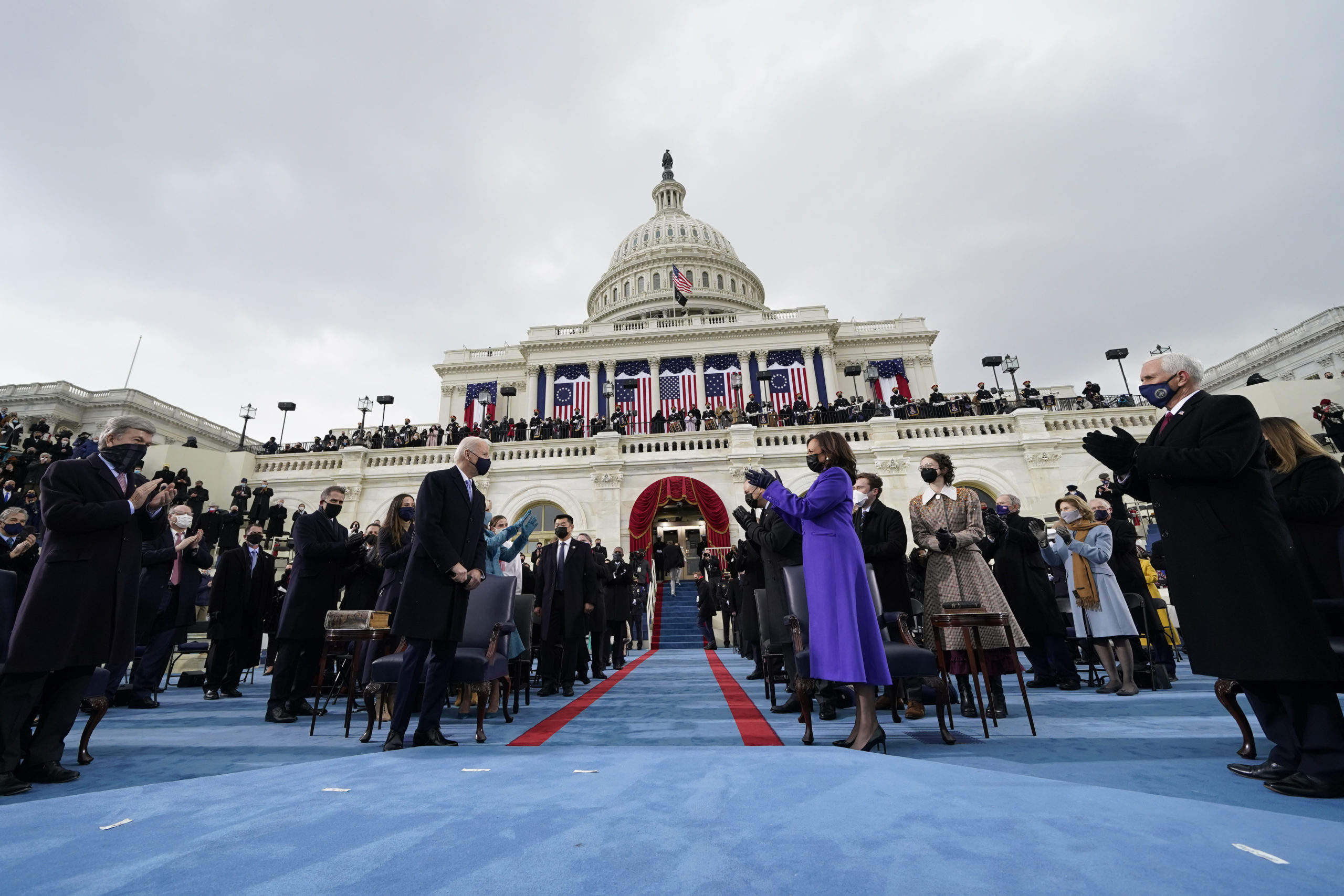 Vice President Kamala Harris applauds President Joe Biden at the U.S. Capitol on Wednesday. (Andrew Harnik/Pool/Getty Images)