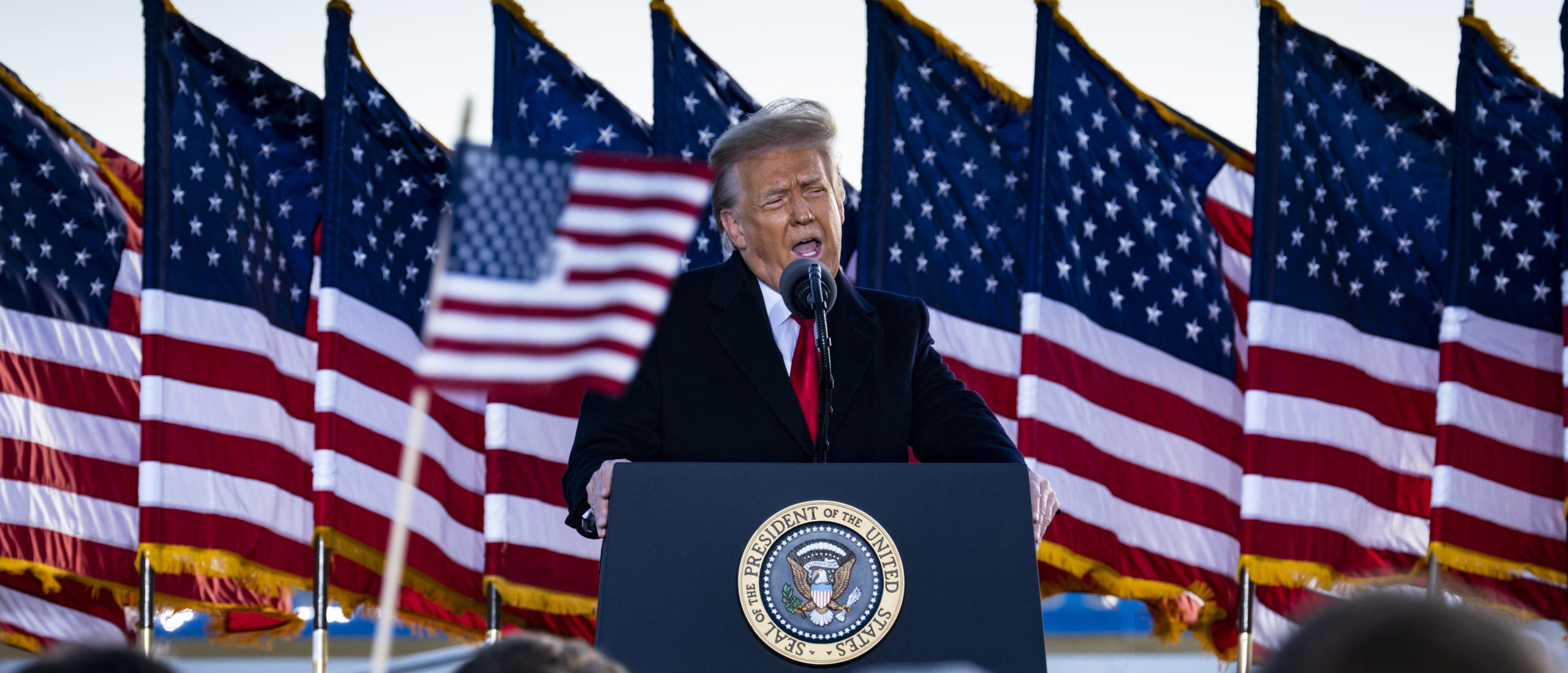 JOINT BASE ANDREWS, MARYLAND - JANUARY 20: President Donald Trump speaks to supporters at Joint Base Andrews before boarding Air Force One for his last time as President on January 20, 2021 in Joint Base Andrews, Maryland. (Photo by Pete Marovich - Pool/Getty Images)