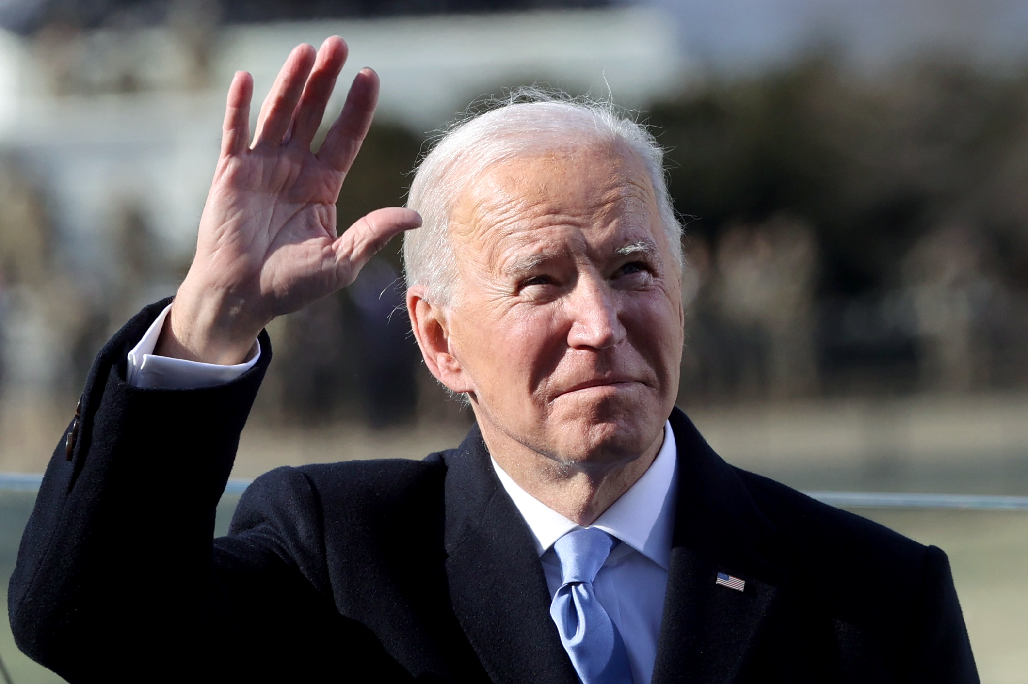 WASHINGTON, DC - JANUARY 20: President Joe Biden waves after being sworn in during his inauguration on the West Front of the U.S. Capitol on January 20, 2021 in Washington, DC. During today's inauguration ceremony Biden becomes the 46th President of the United States. (Photo by Jonathan Ernst-Pool/Getty Images)