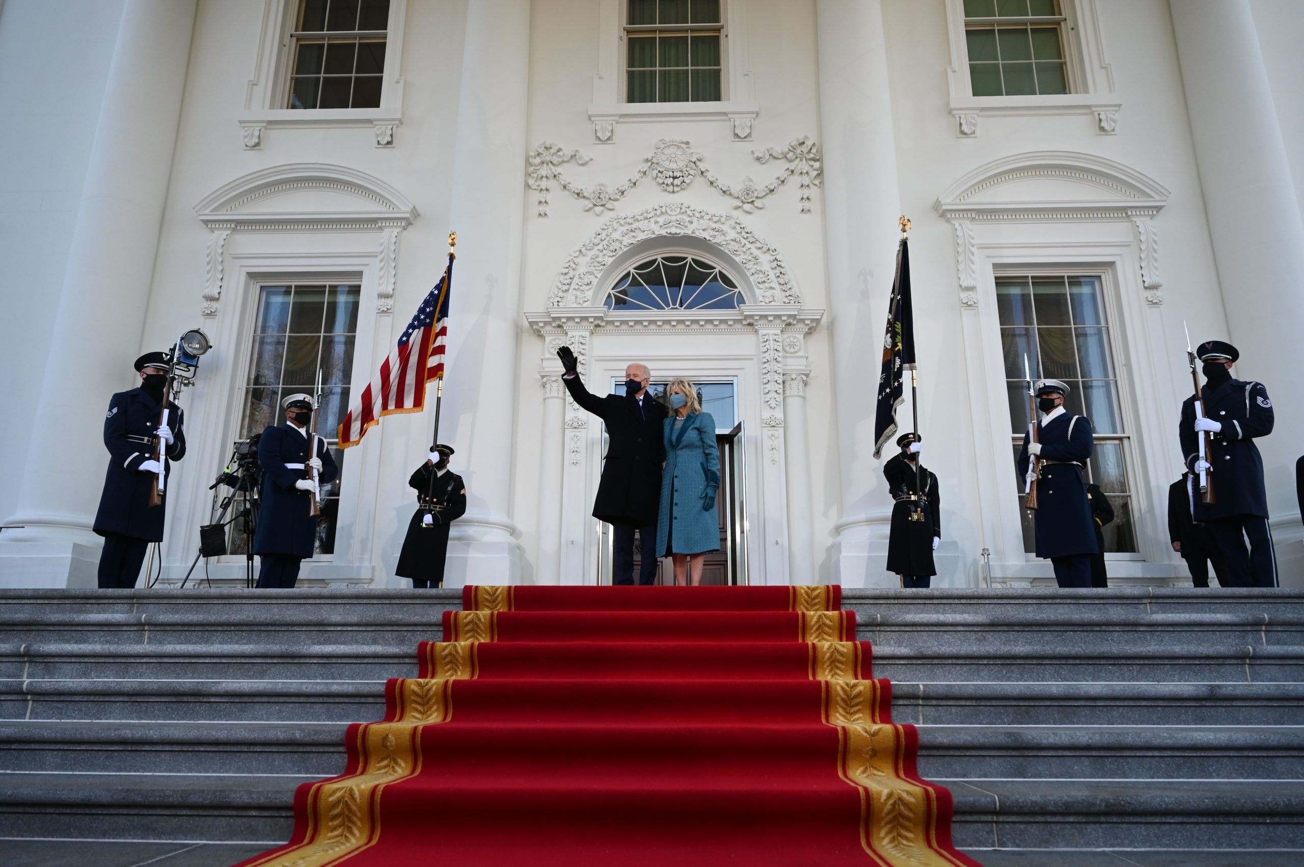 President Joe Biden and First Lady Jill Biden arrive at the White House on Wednesday. (Jim Watson/AFP via Getty Images)