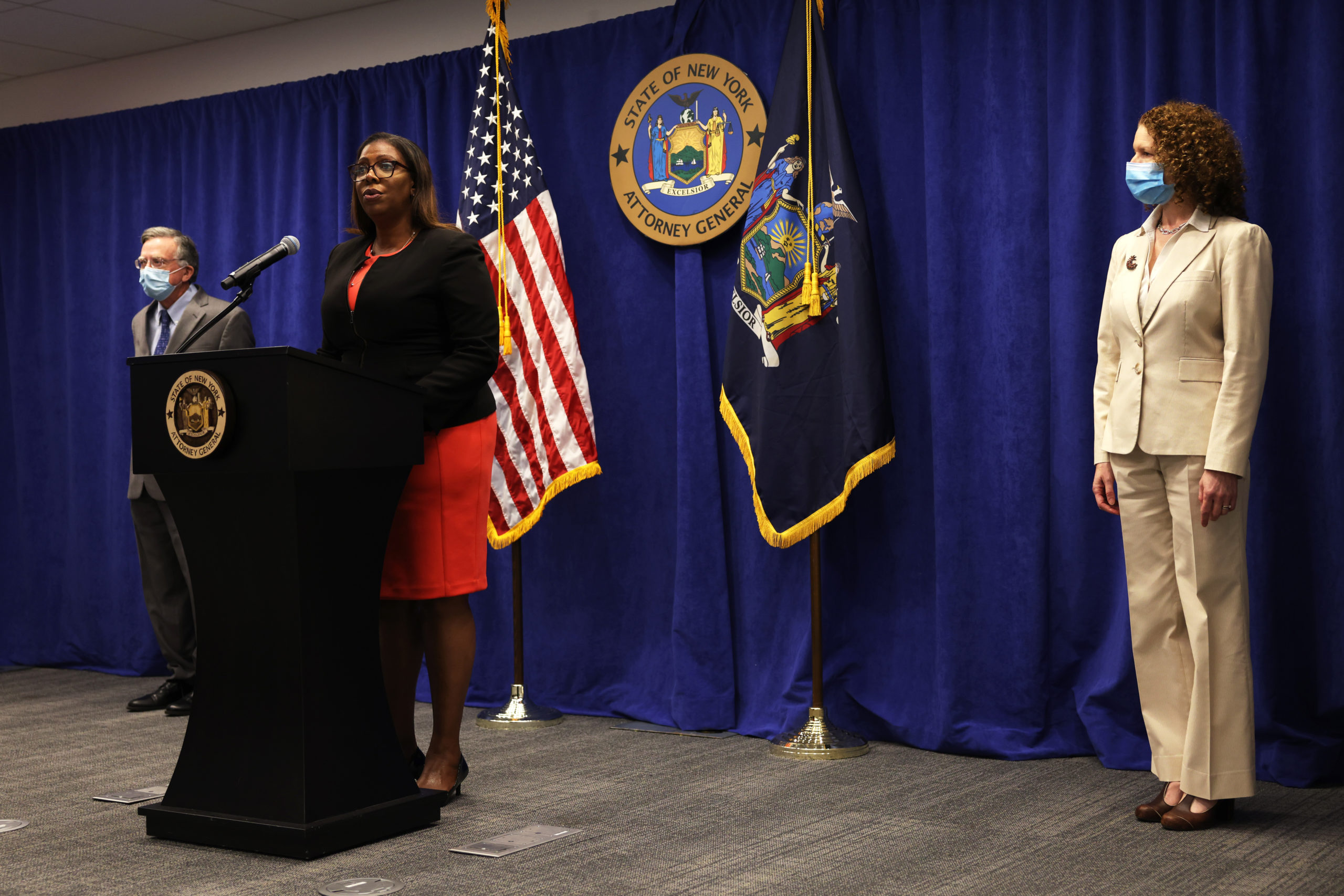 New York State Attorney General Letitia James speaks during a press conference announcing a lawsuit to dissolve the NRA on Aug. 6 in New York City. (Michael M. Santiago/Getty Images)