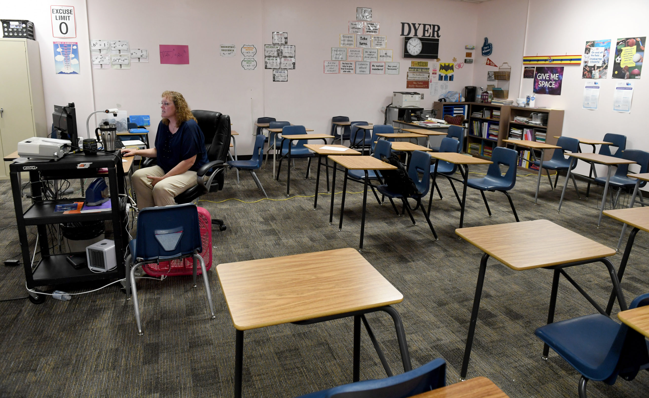LAS VEGAS, NEVADA - AUGUST 24: Dana Dyer teaches an online seventh grade algebra class from her empty classroom at Walter Johnson Junior High School on the first day of distance learning for the Clark County School District amid the spread of the coronavirus (COVID-19) on August 24, 2020 in Las Vegas, Nevada. CCSD, the fifth-largest school district in the United States with more than 315,000 students, decided to start the school year with a full-time distance education instructional model as part of its Reopening Our Schools Plan due to health and safety concerns over the pandemic. (Photo by Ethan Miller/Getty Images)