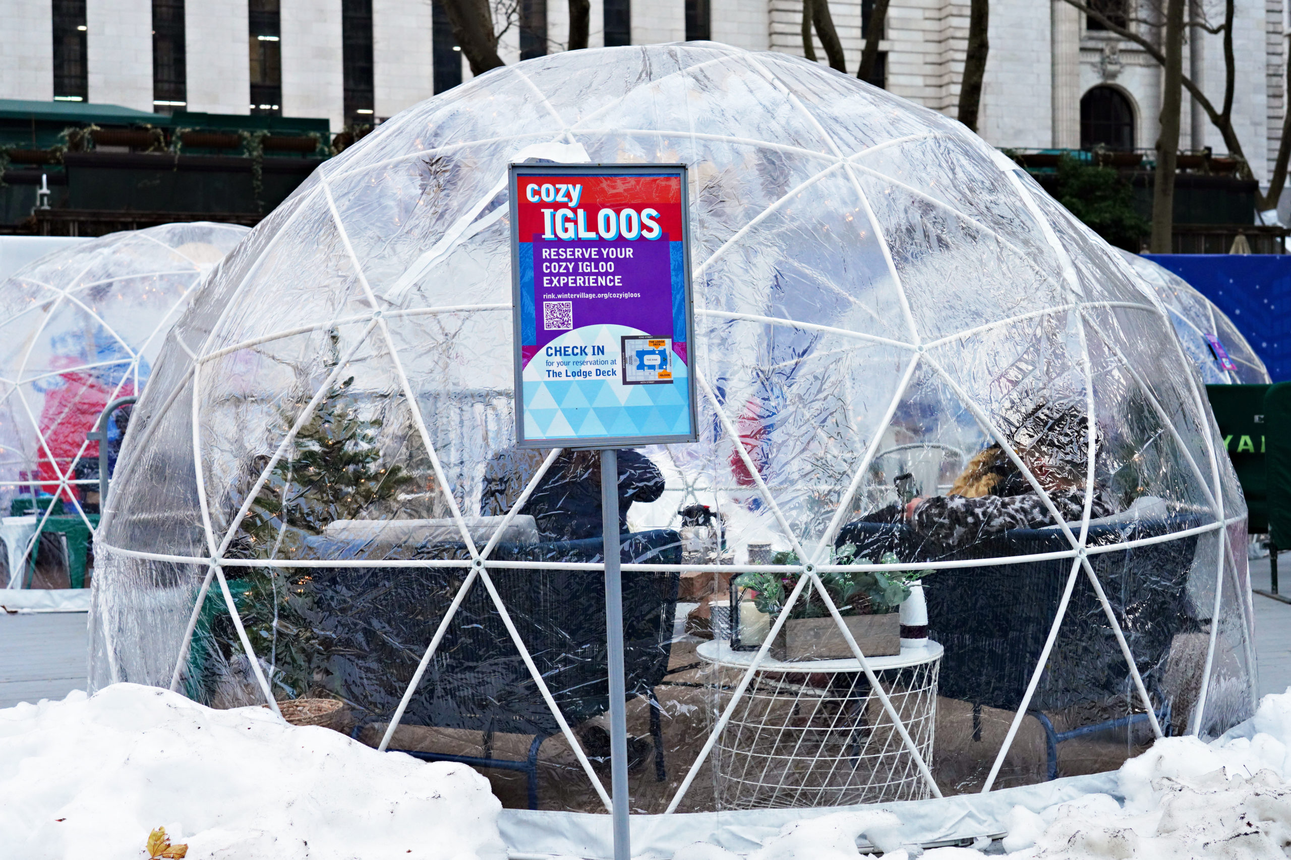 A view of igloo dining tents at Bank of America Winter Village in Bryant Park on December 23, 2020 in New York City. The pandemic continues to burden restaurants and bars as businesses struggle to thrive with evolving government restrictions and social distancing plans which impact keeping businesses open yet challenge profitability. (Photo by Cindy Ord/Getty Images)