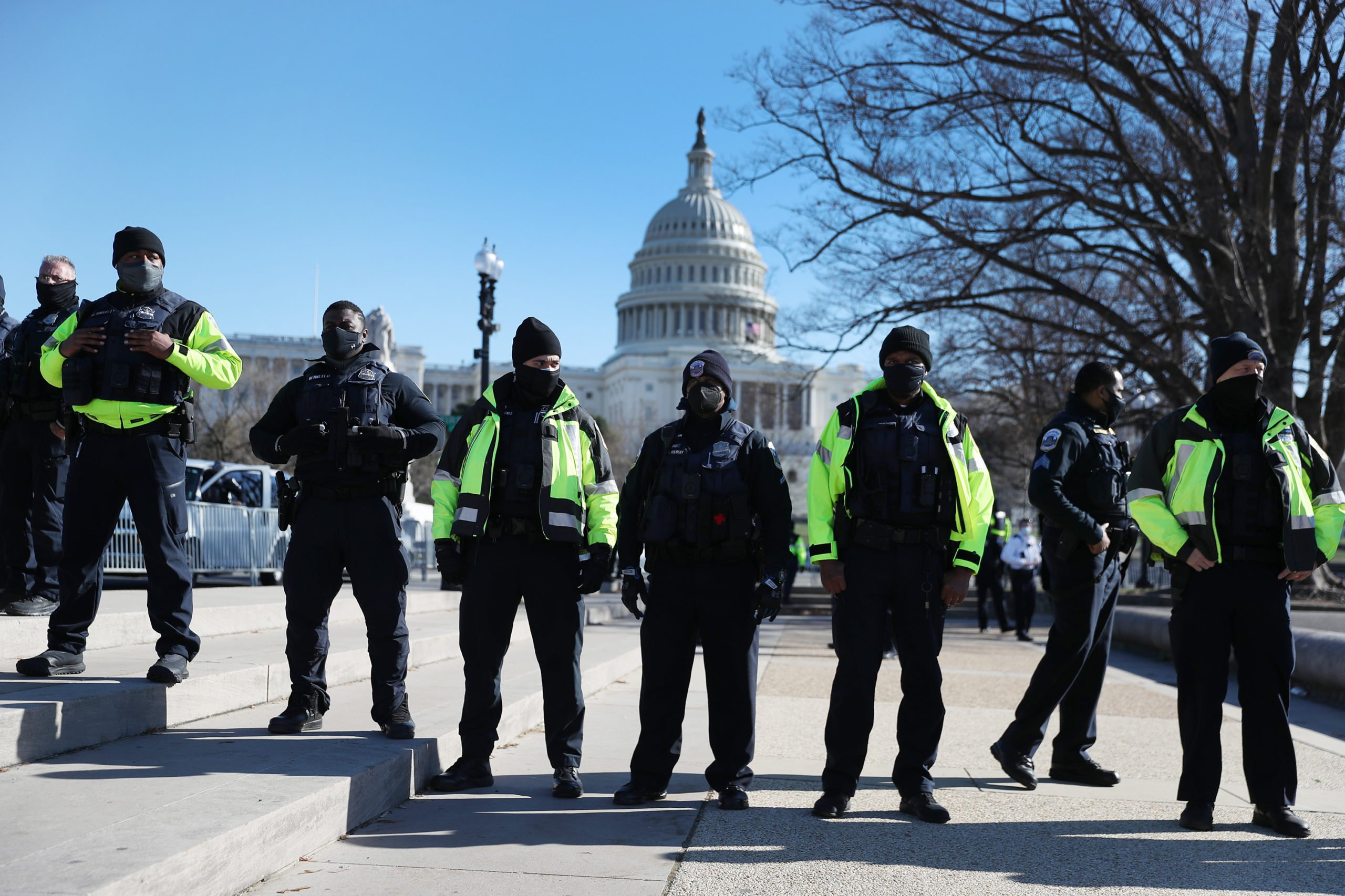 Members of the Metropolitan Police Department of the District of Columbia are seen in front of the U.S. Capitol a day after a pro-Trump mob broke into the building on January 07, 2021 in Washington, DC. (Photo by Joe Raedle/Getty Images)