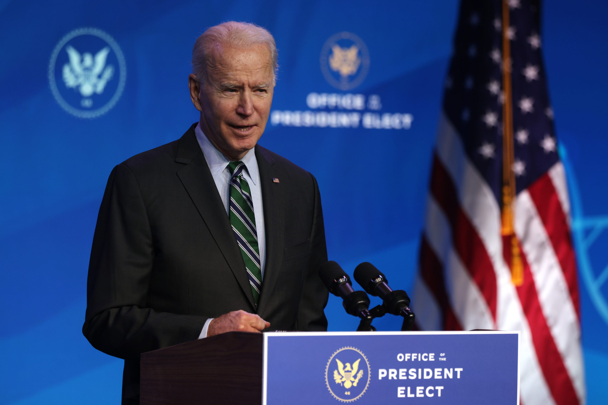 WILMINGTON, DELAWARE - JANUARY 16: U.S. President-elect Joe Biden speaks during an announcement January 16, 2021 at the Queen theater in Wilmington, Delaware. President-elect Joe Biden has announced key members of his incoming White House science team. (Photo by Alex Wong/Getty Images)