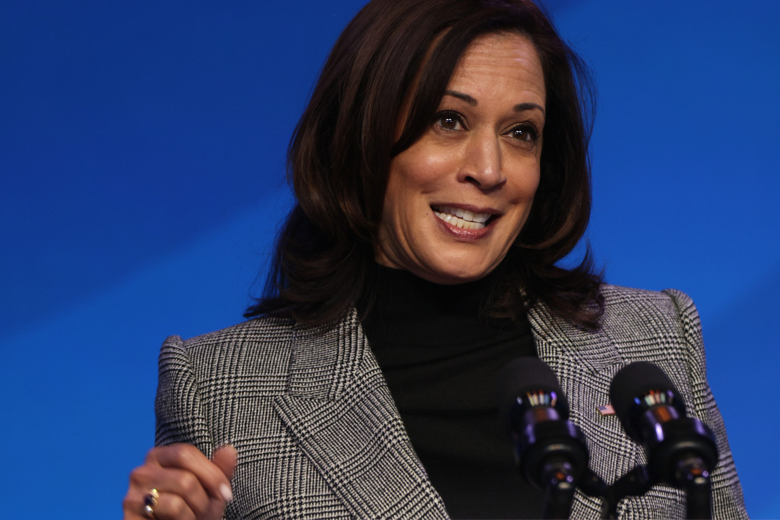 WILMINGTON, DELAWARE - JANUARY 16: U.S. Vice President-elect Kamala Harris speaks during an announcement January 16, 2021 at the Queen theater in Wilmington, Delaware. President-elect Joe Biden has announced key members of his incoming White House science team. (Photo by Alex Wong/Getty Images)