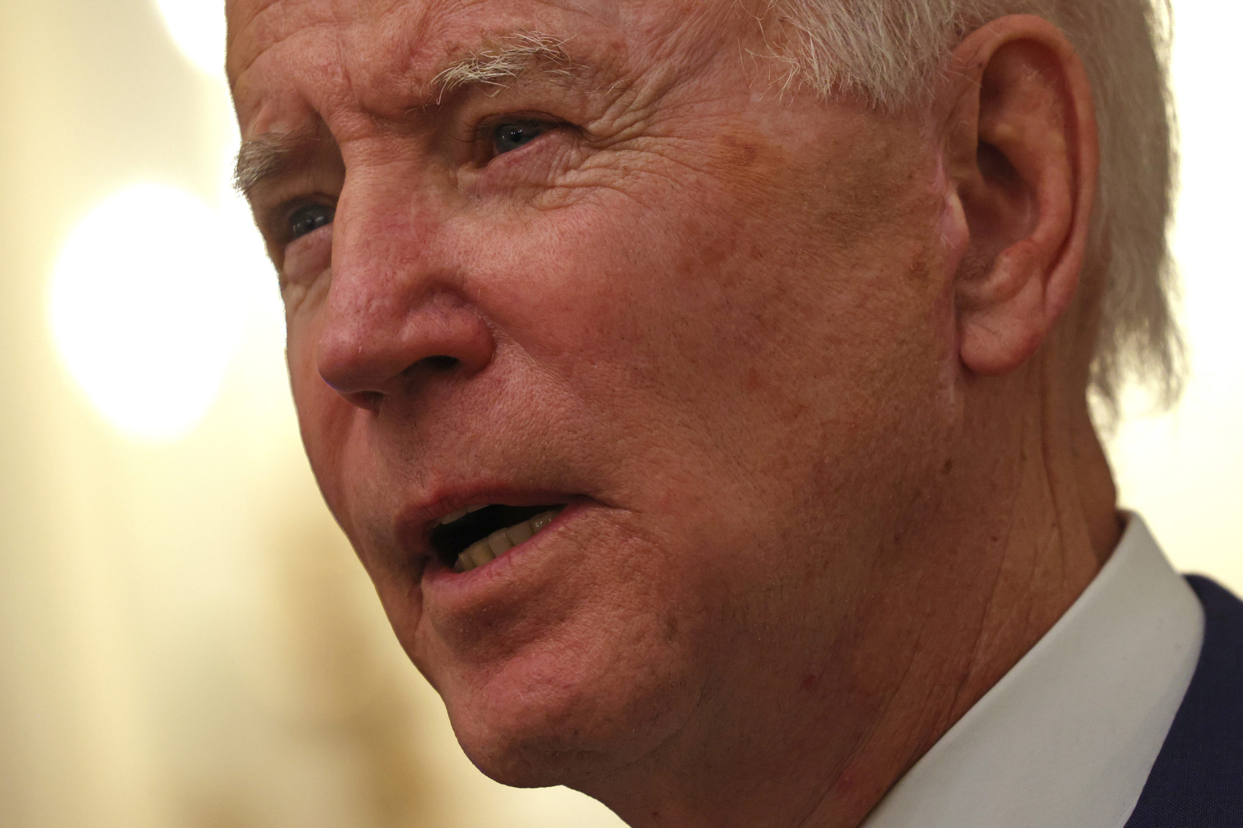 WASHINGTON, DC - JANUARY 22: U.S. President Joe Biden speaks during an event on economic crisis in the State Dining Room of the White House January 22, 2021 in Washington, DC. President Biden spoke on his administration's response to the economic crisis that caused by the COVID-19 pandemic and signed two executive orders. (Photo by Alex Wong/Getty Images)