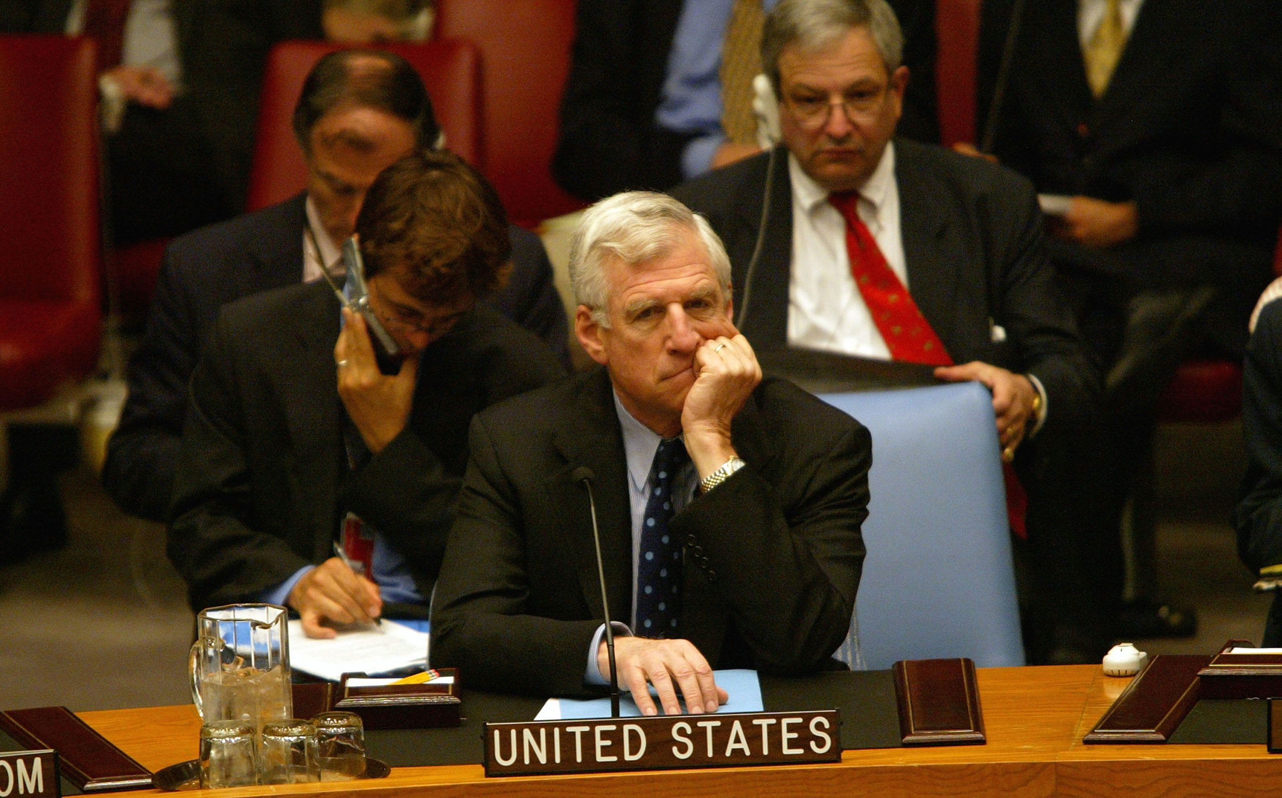 NEW YORK - JULY 13: Newly appointed U.S. Ambassador to the United Nations John C. Danforth, 67, listens to a Security Council meeting on the Middle East July 13, 2004 at the United Nations in New York City. Danforth, the former senator from Missouri, was sworn in earlier in the month by Supreme Court Justice Clarence Thomas. (Photo by Spencer Platt/Getty Images)